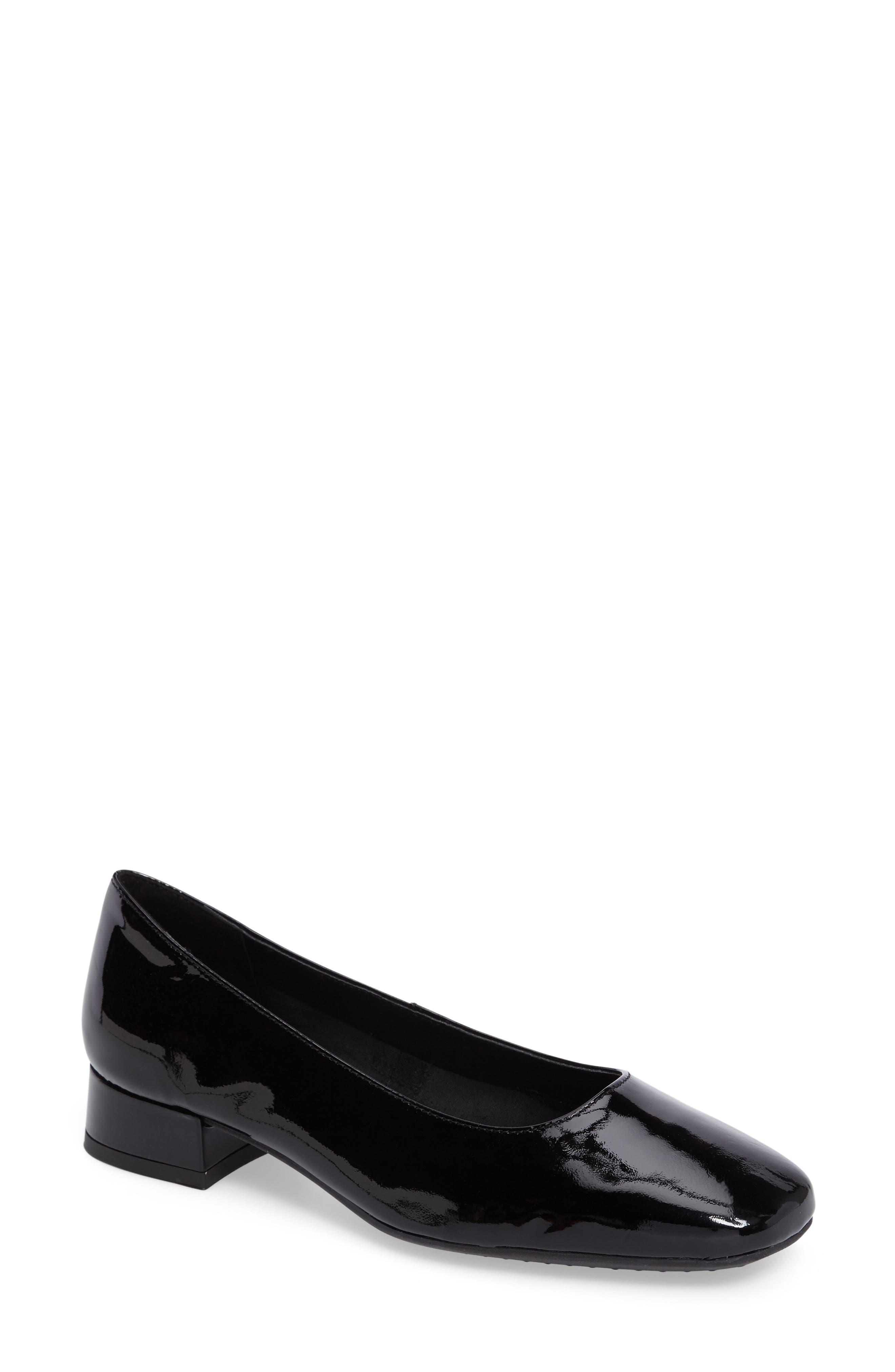 'Longly' Square Toe Pump,                         Main,                         color, Black Patent Leather