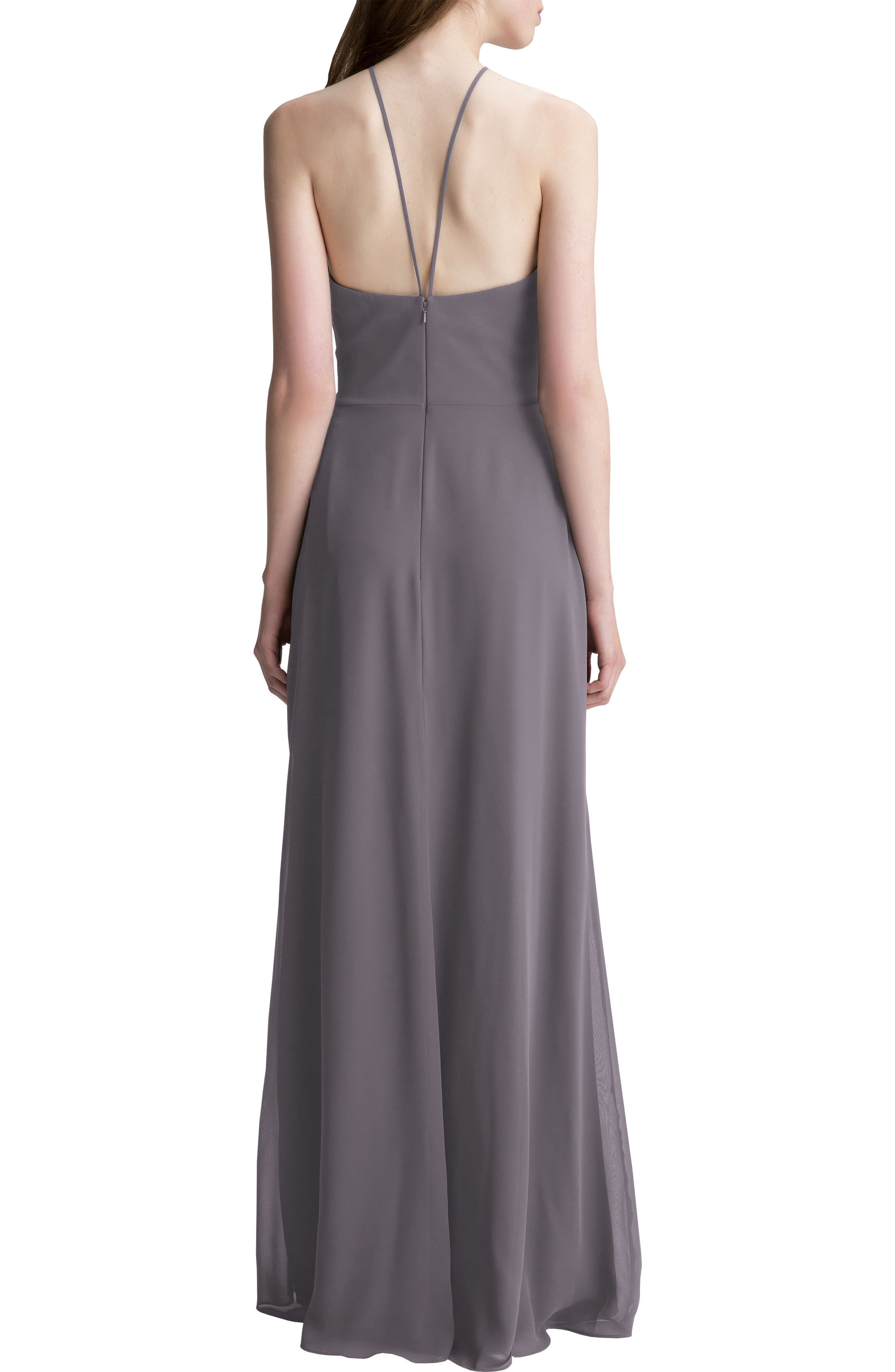 High Neck Chiffon A-Line Gown,                             Alternate thumbnail 2, color,                             Heather