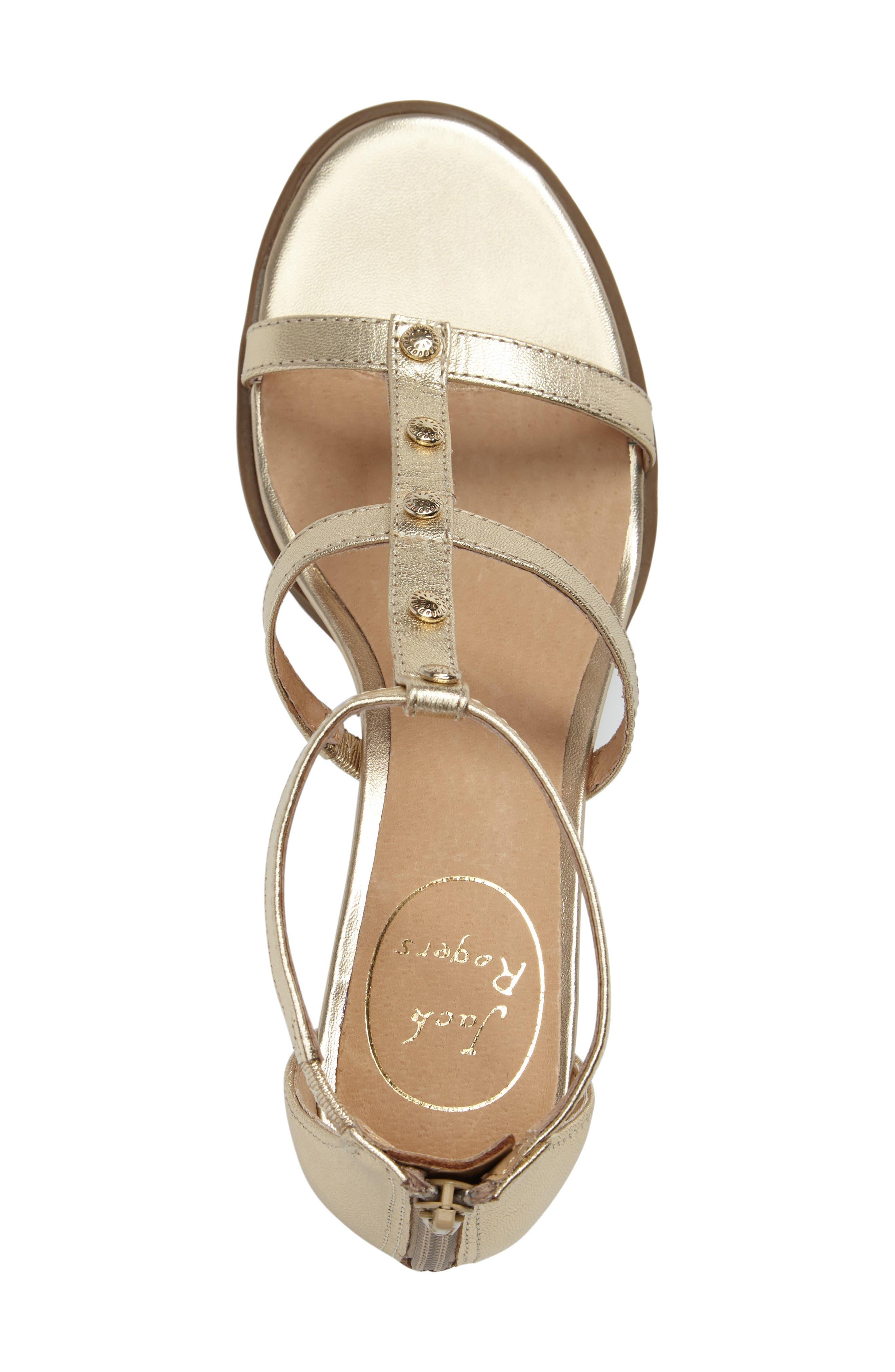 Julia Block Heel Sandal,                             Alternate thumbnail 3, color,                             Platinum Leather