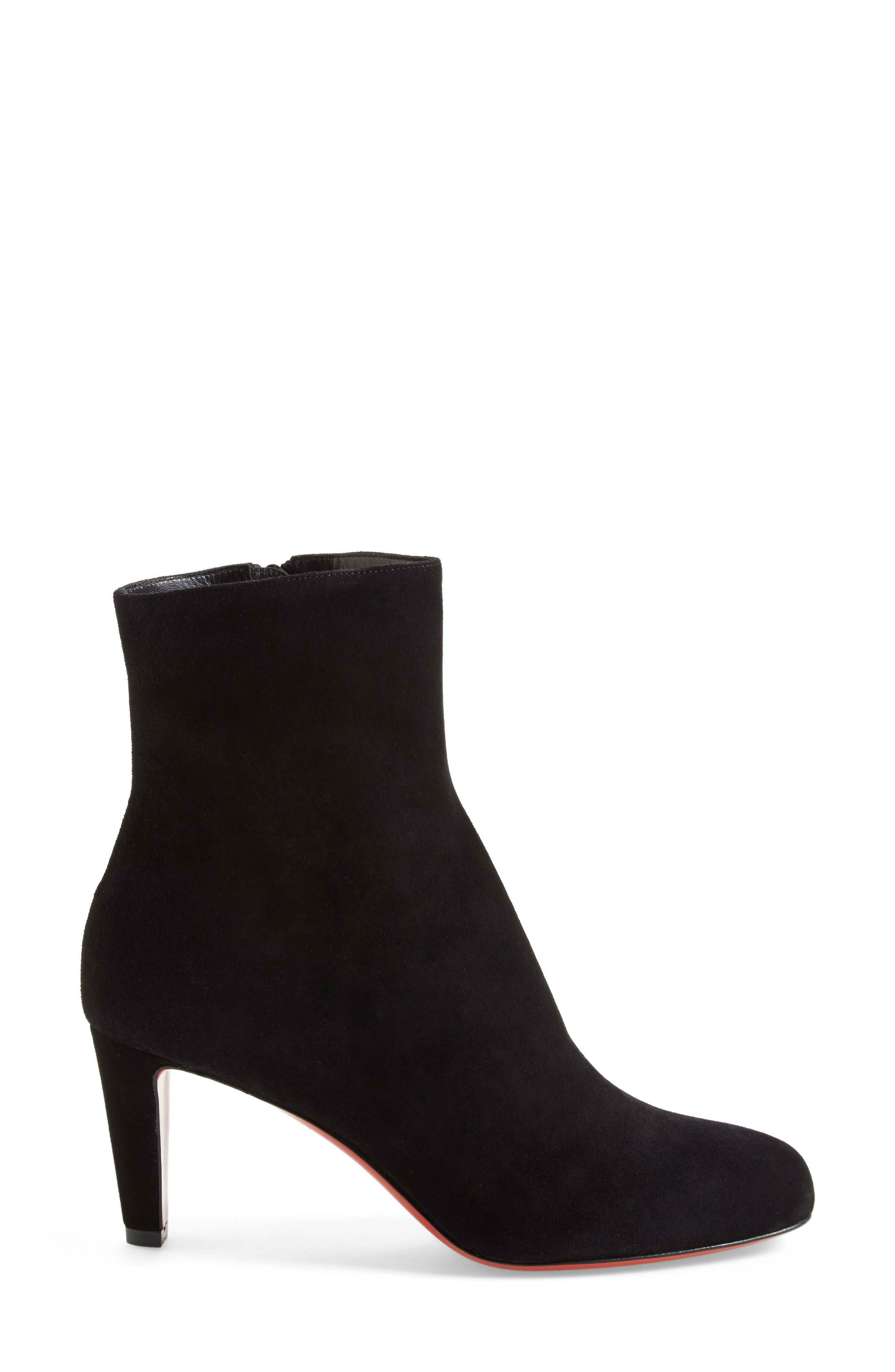 'Top' Ankle Bootie,                             Alternate thumbnail 4, color,                             Black Suede
