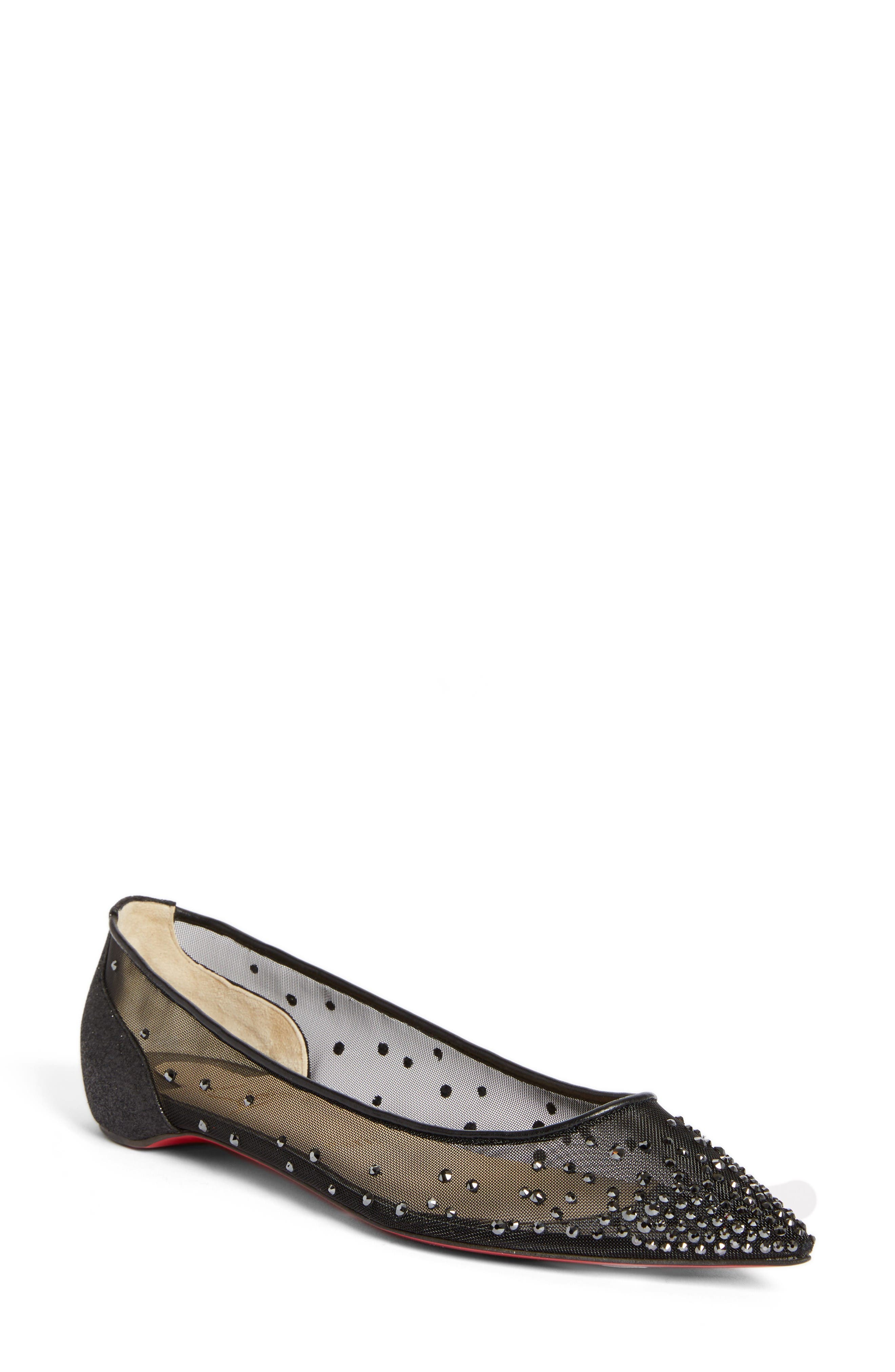 Follies Strass Pointy Toe Flat,                         Main,                         color, Black