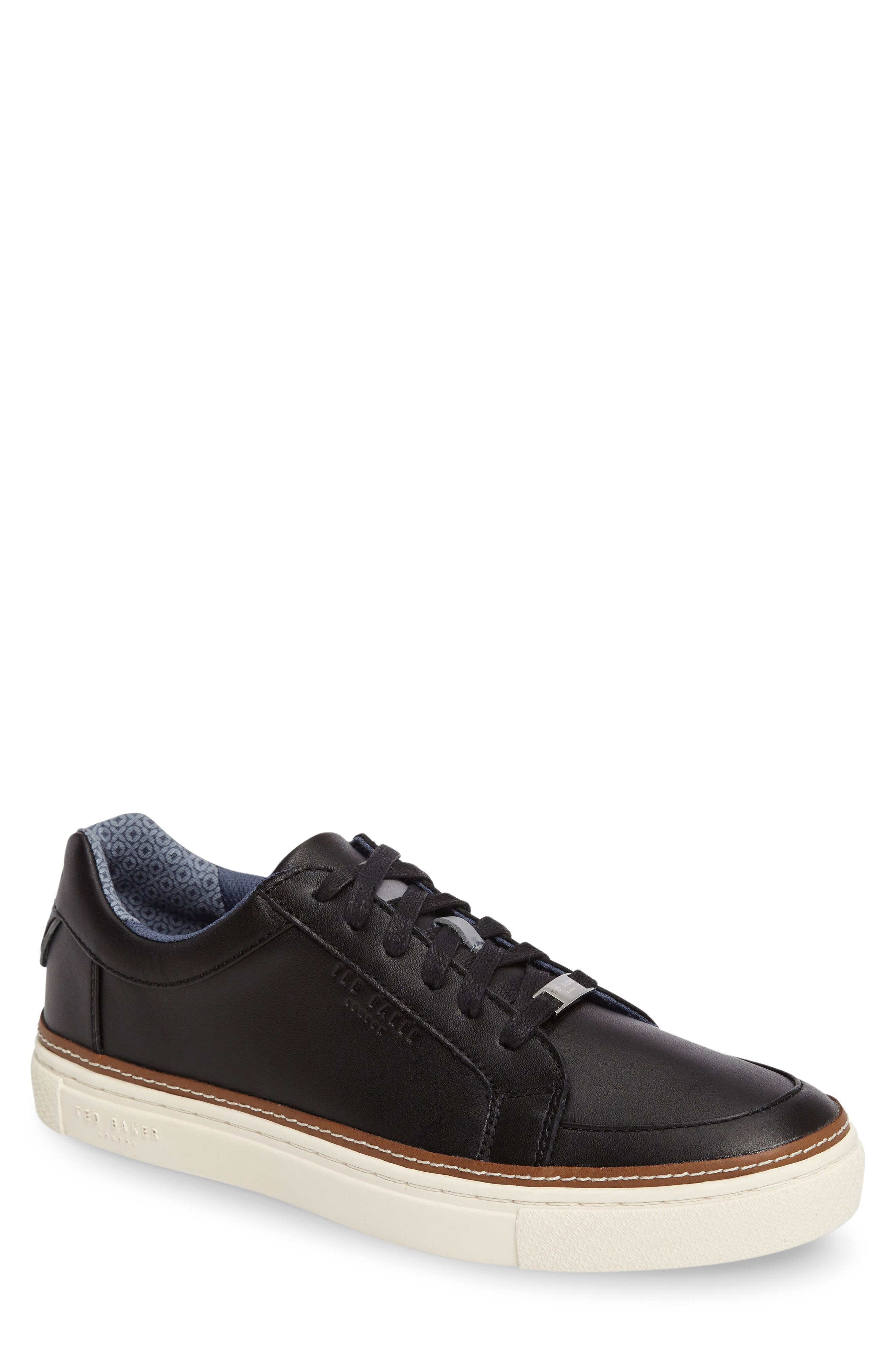 Rouu Sneaker,                         Main,                         color, Black Leather