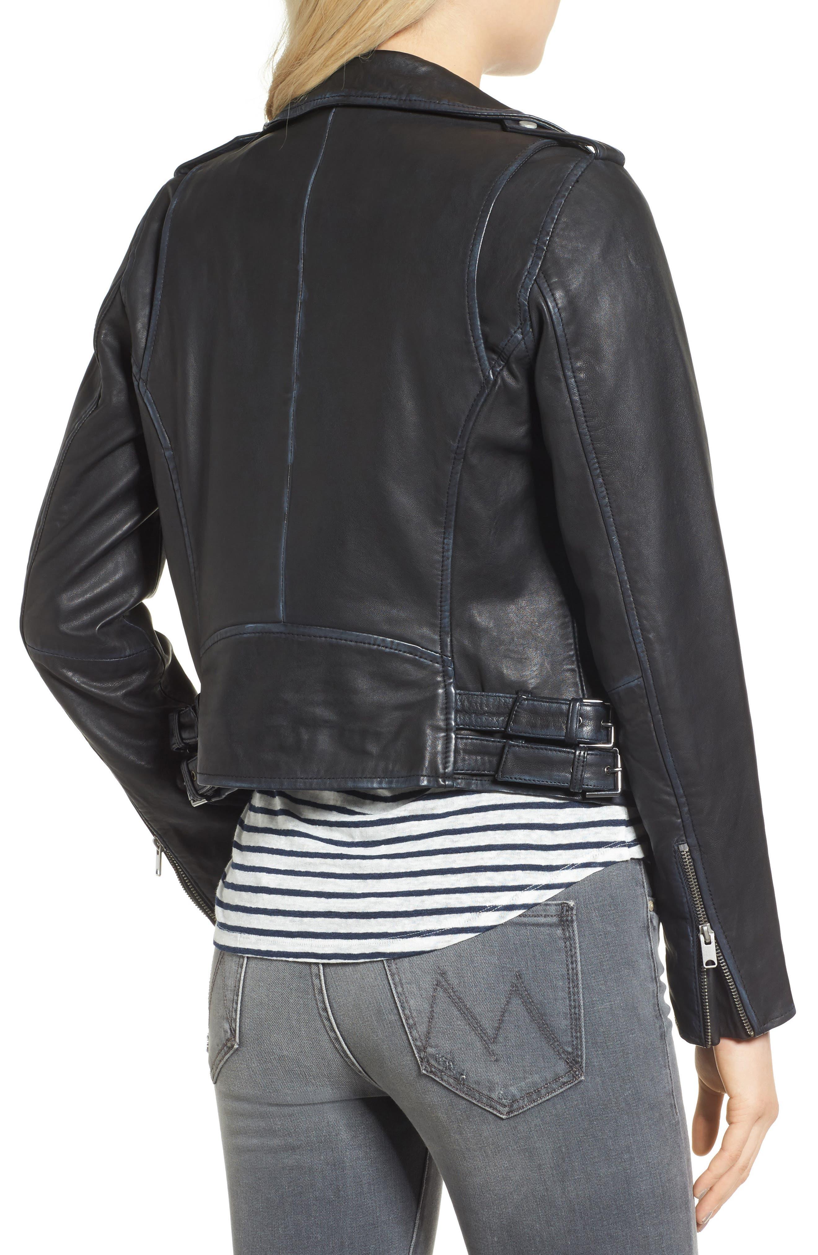 Whitney Washed Leather Crop Jacket,                             Alternate thumbnail 2, color,                             Black