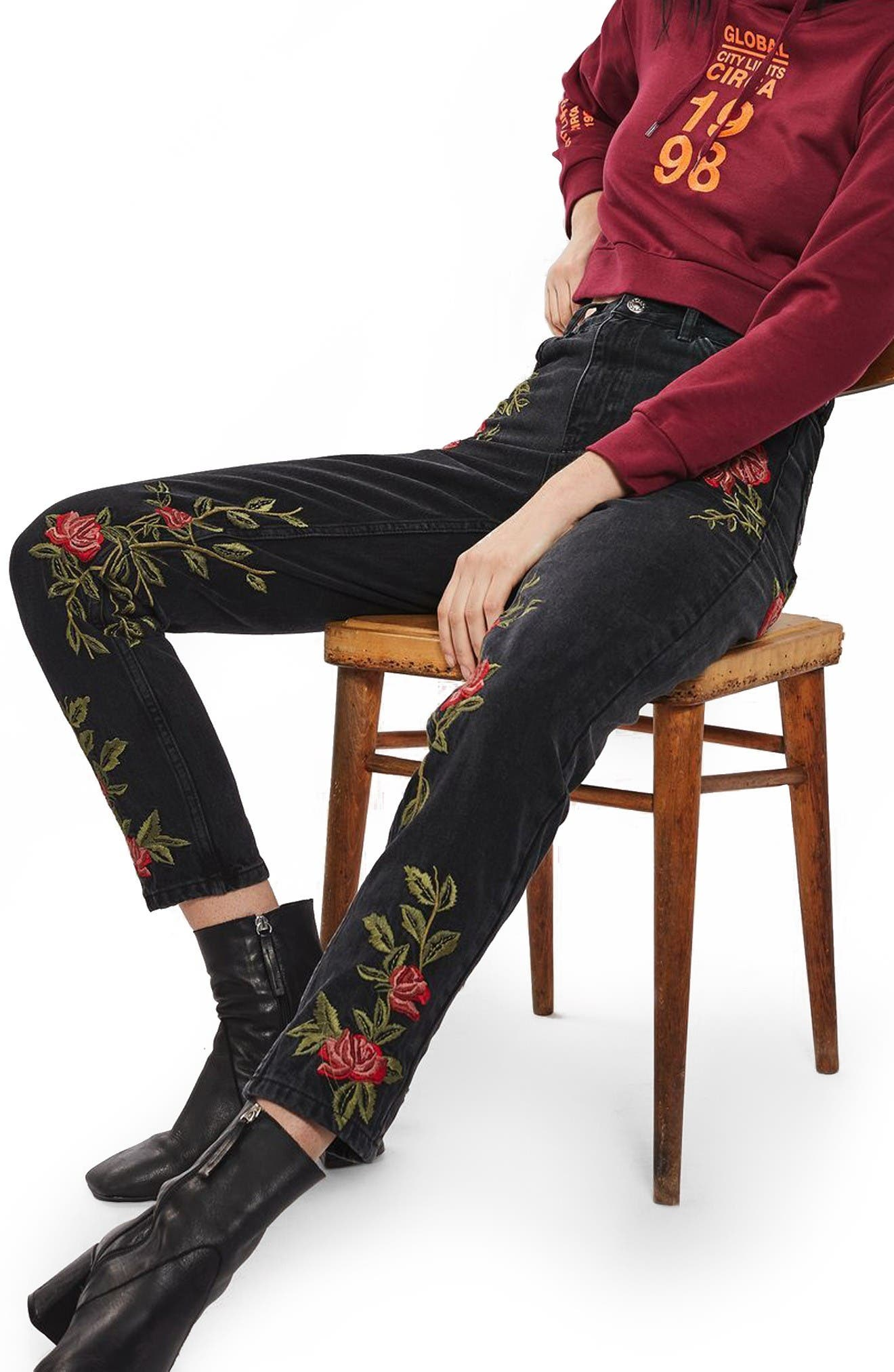 Alternate Image 1 Selected - Topshop Rose Embroidered Mom Jeans (Petite)