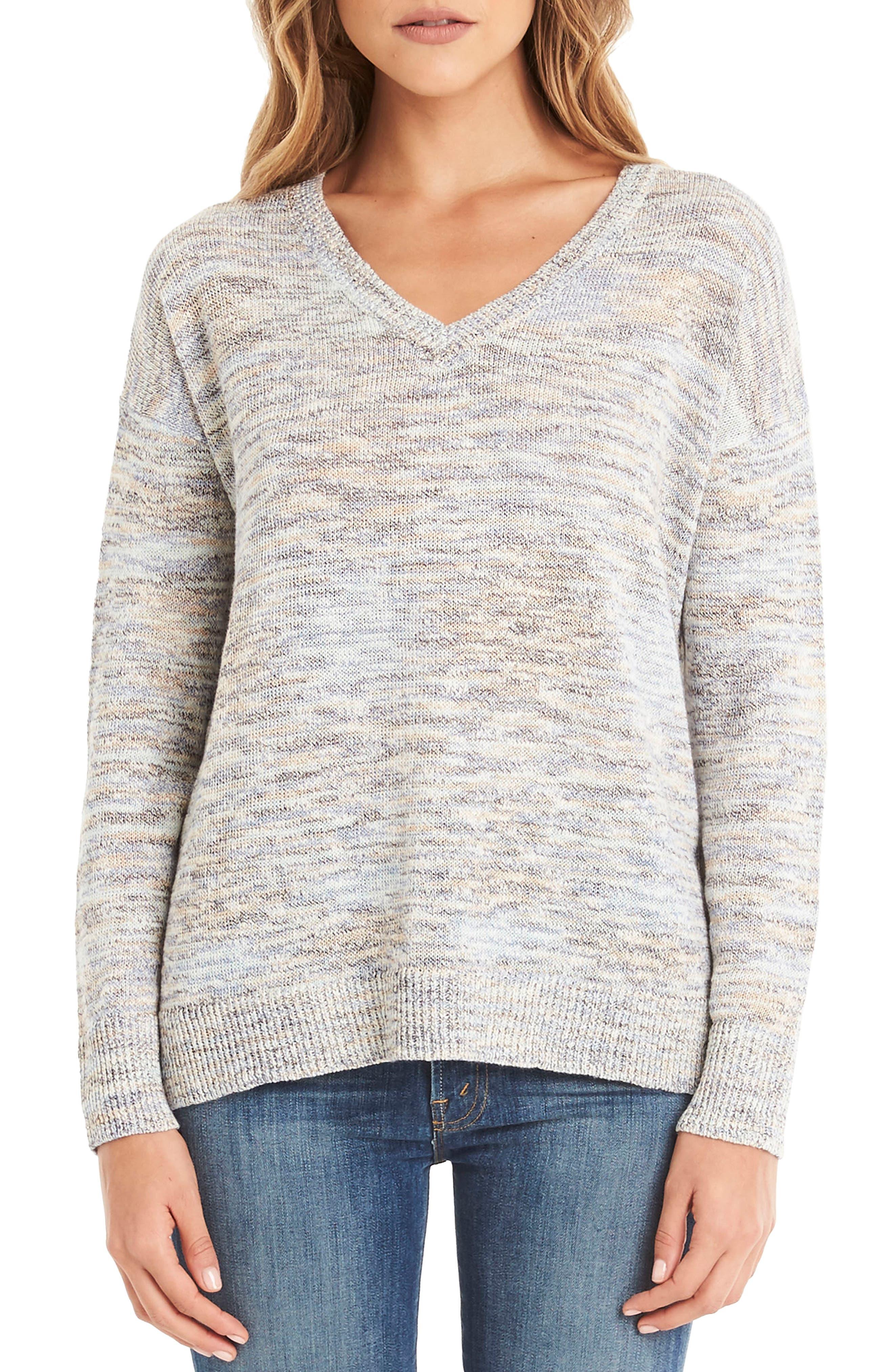 V-Neck Sweater,                             Main thumbnail 1, color,                             Blue Marl