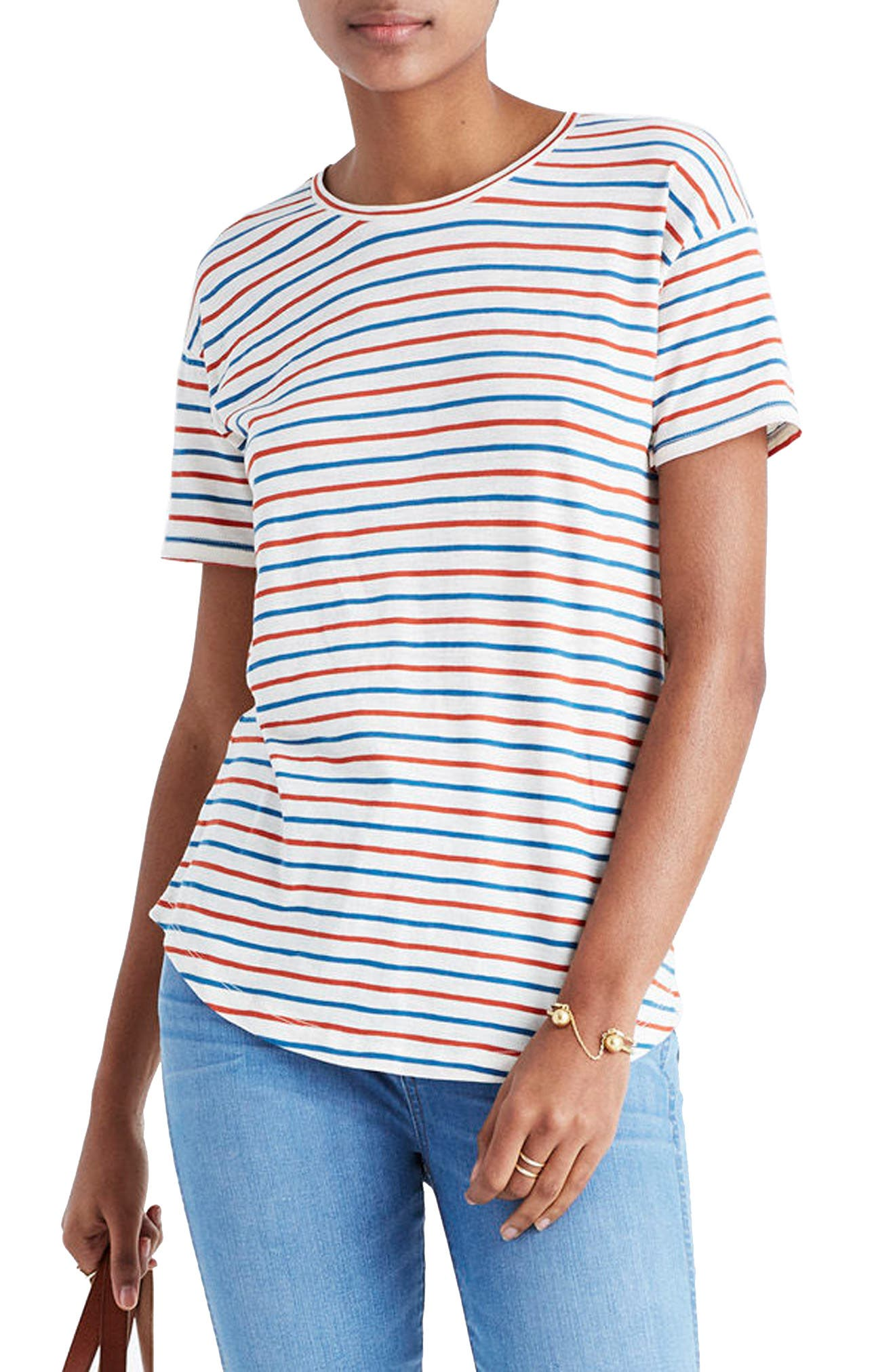 Whisper Raphael Stripe Tee,                             Main thumbnail 1, color,                             Bright Ivory