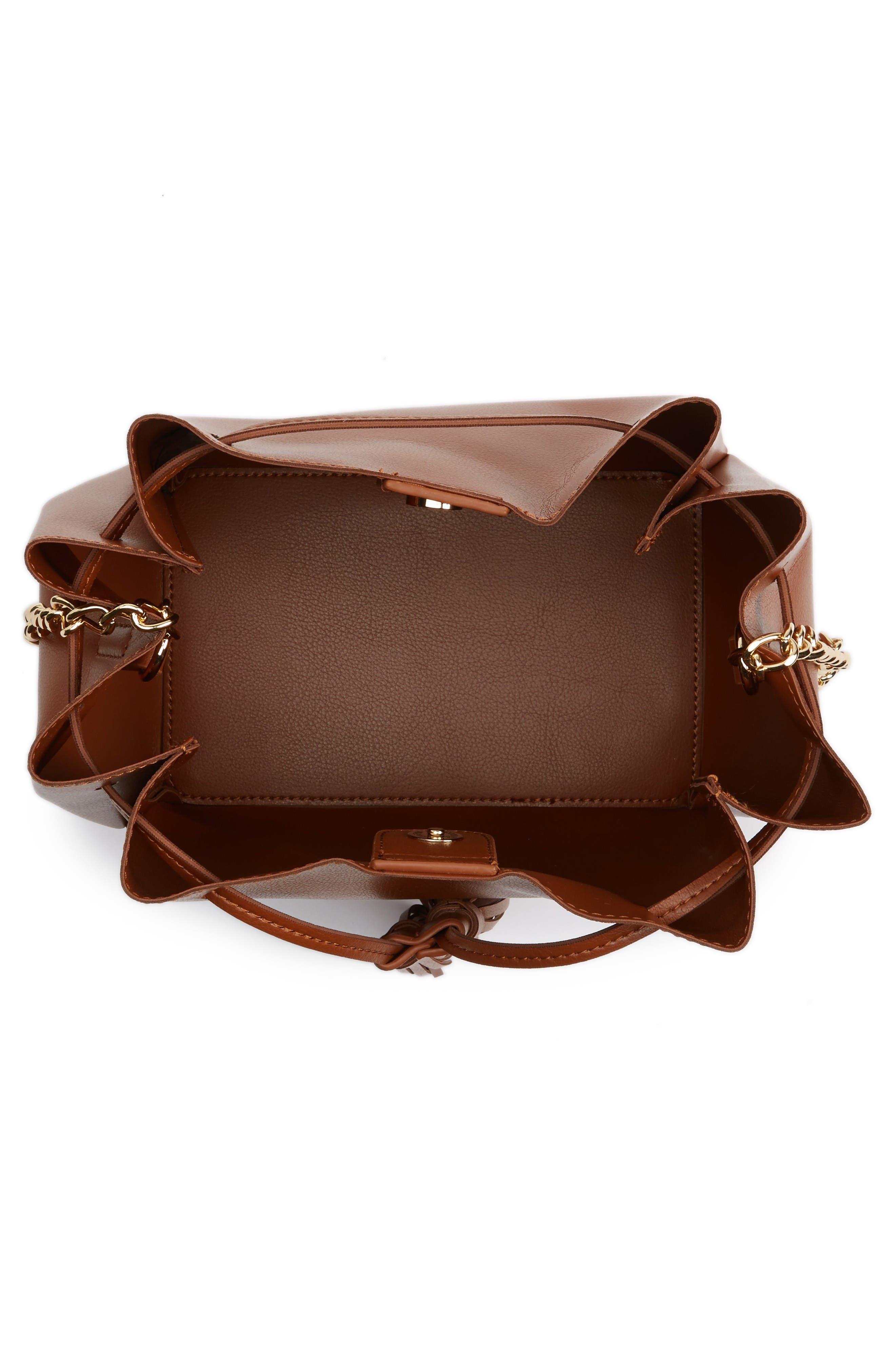 Dahlia Faux Leather Bucket Bag,                             Alternate thumbnail 4, color,                             Cognac