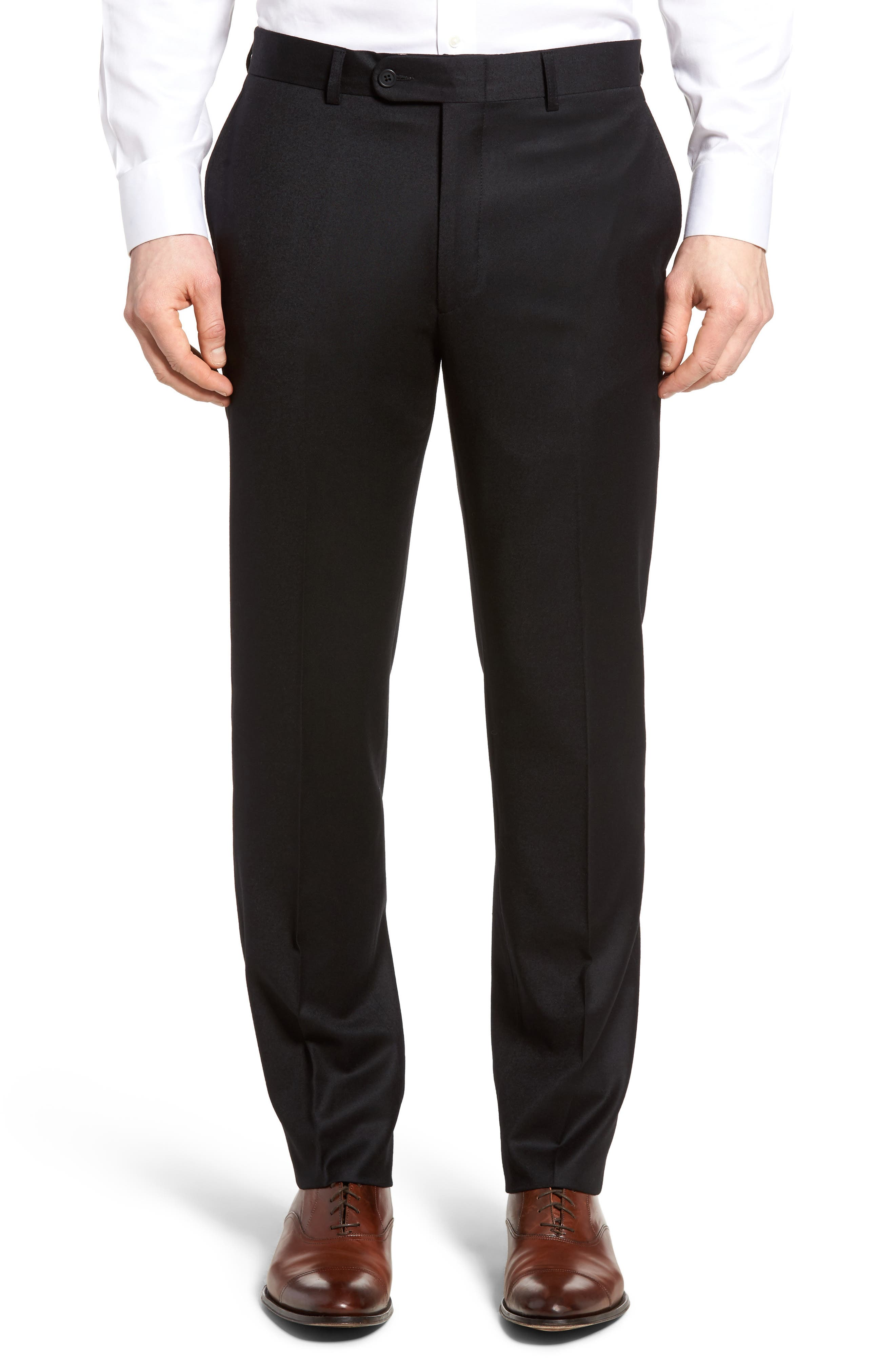 Flannel Wool Trousers,                         Main,                         color, Black