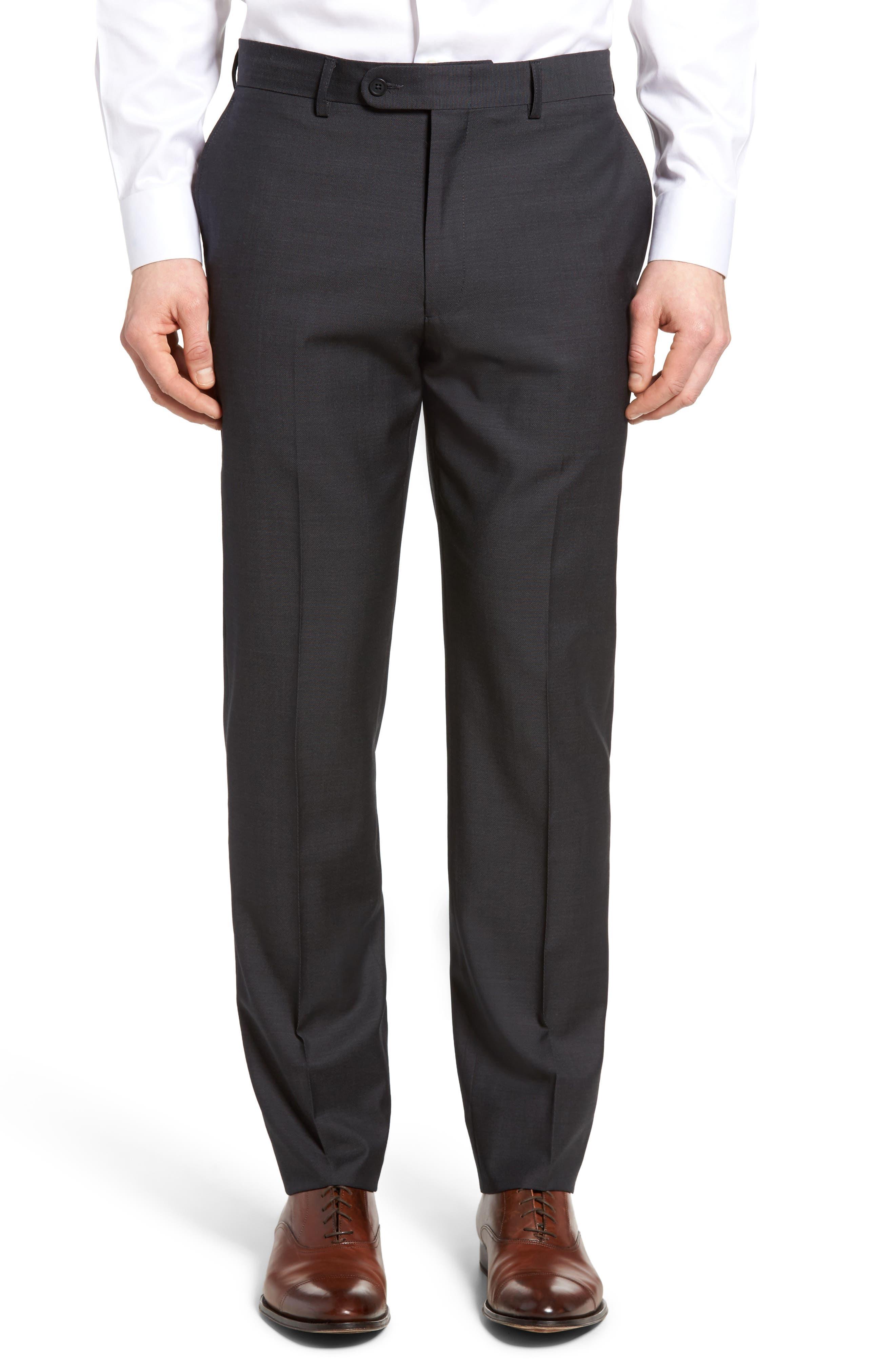 Pin Dot Wool Trousers,                         Main,                         color, Medium Grey
