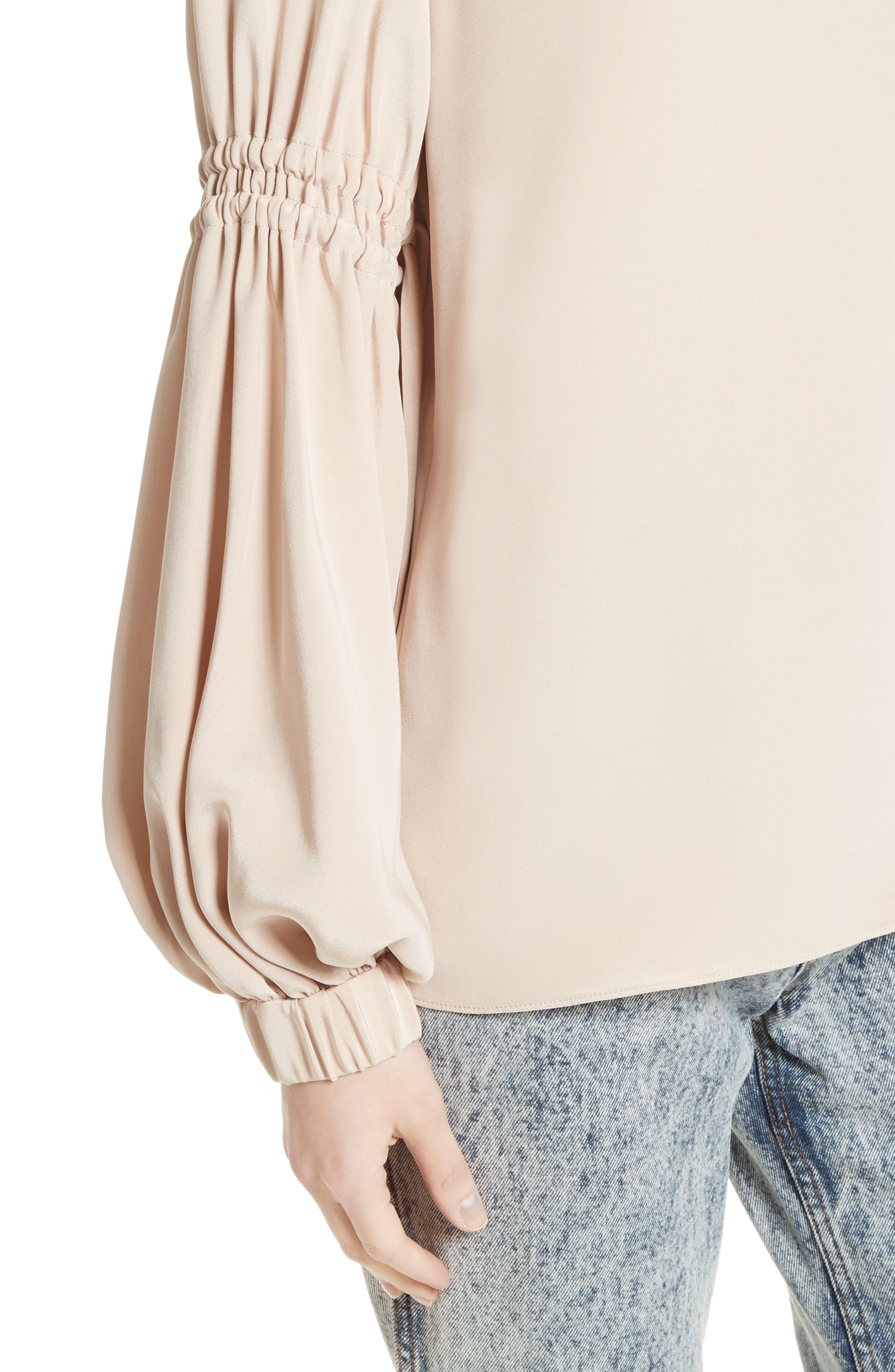 Alternate Image 4  - Tibi Bishop Sleeve Silk Blouse