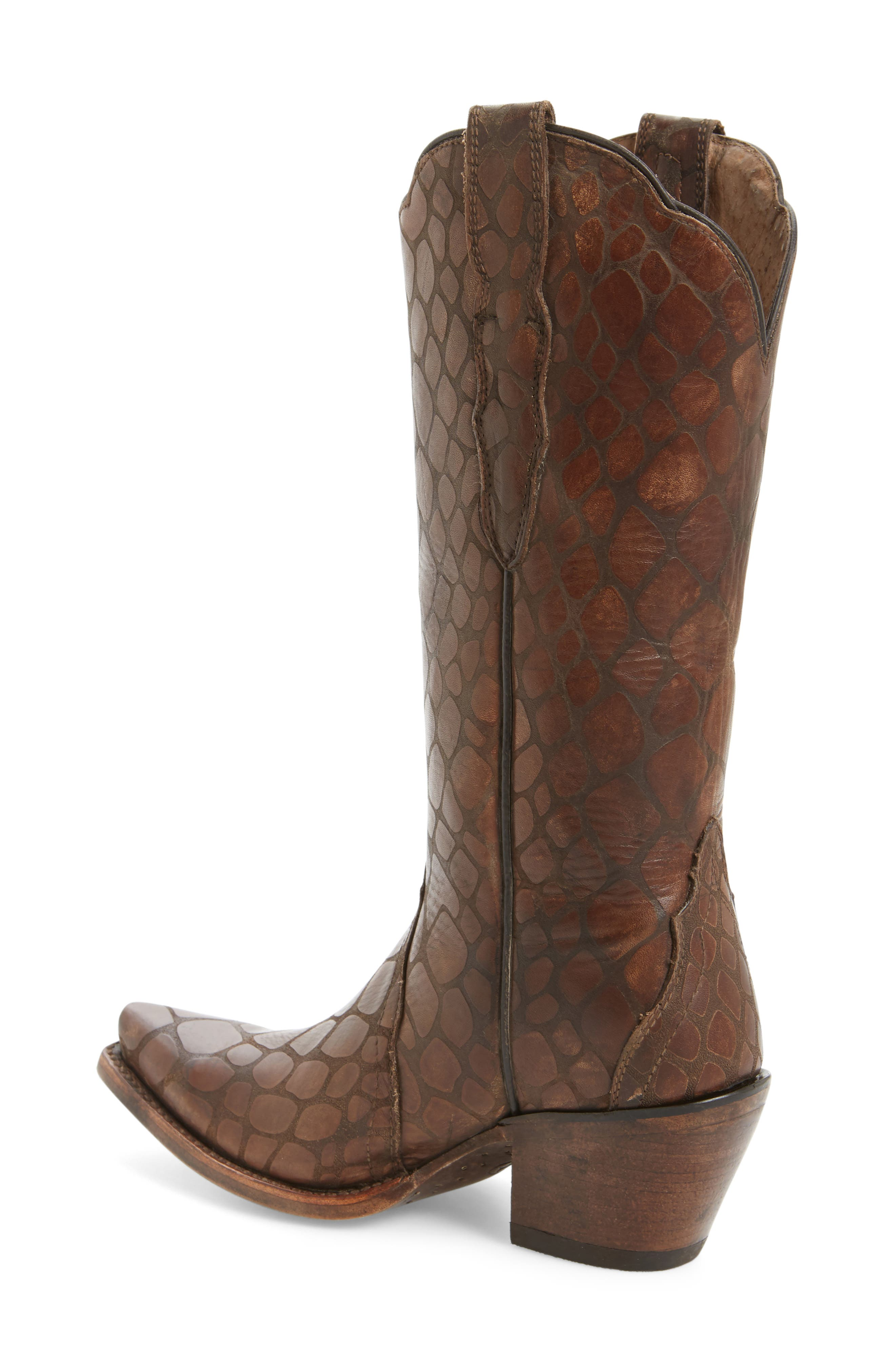 Antebellum Croc Embossed Western Boot,                             Alternate thumbnail 2, color,                             Brown Leather