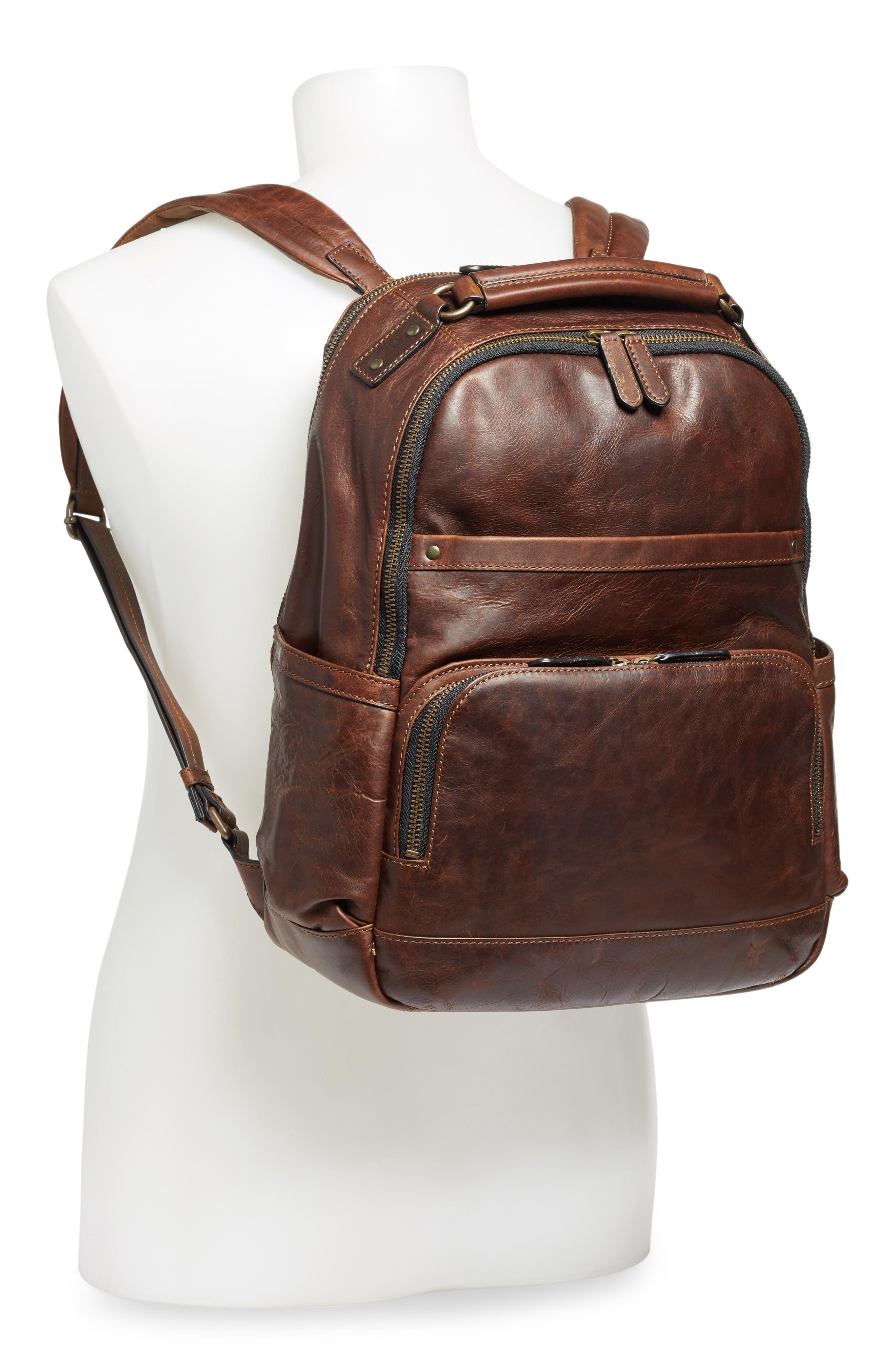 'Logan' Leather Backpack,                             Alternate thumbnail 2, color,                             Dark Brown