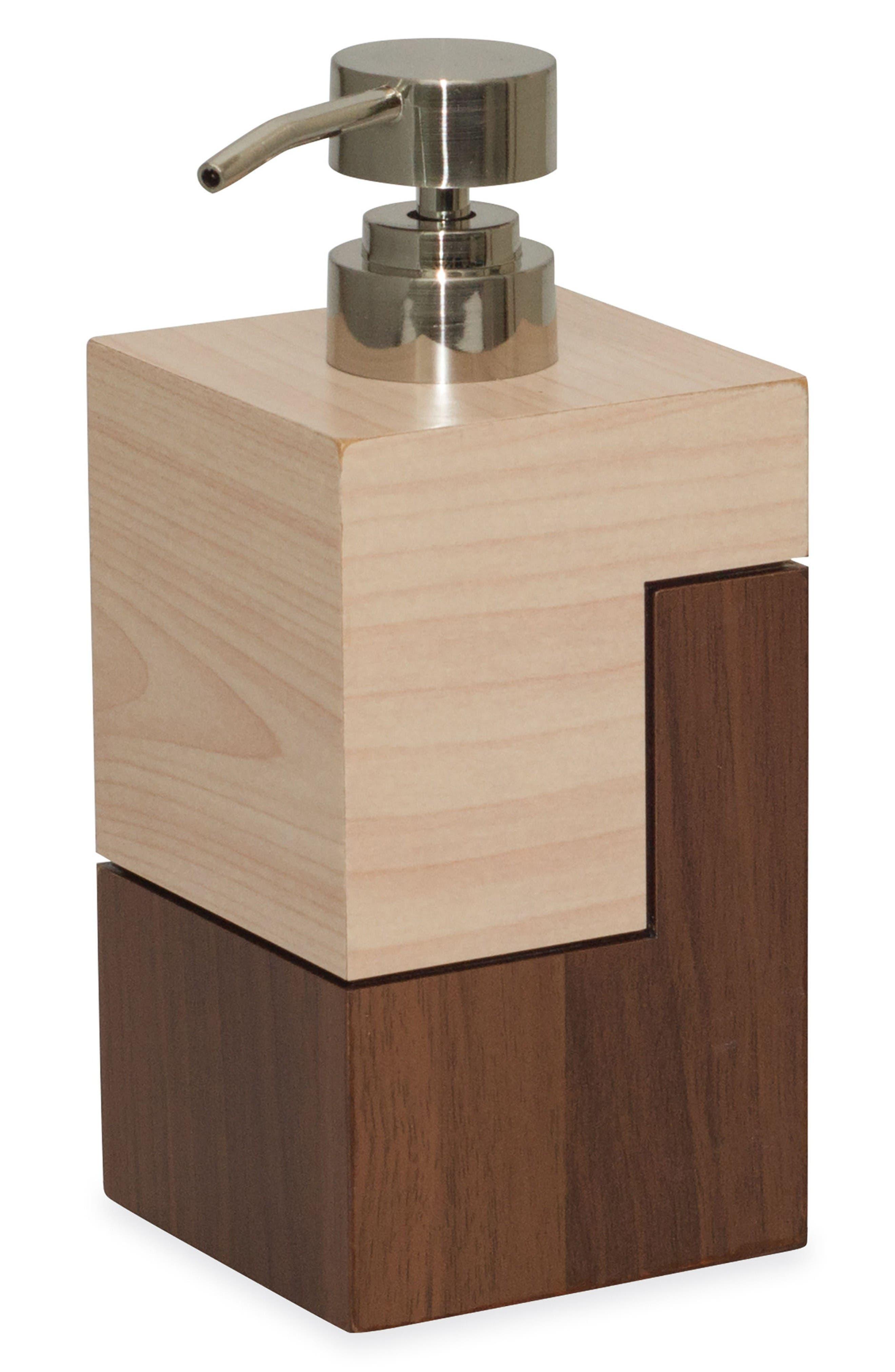 Wood Veneer Block Lotion Pump,                         Main,                         color, Brown