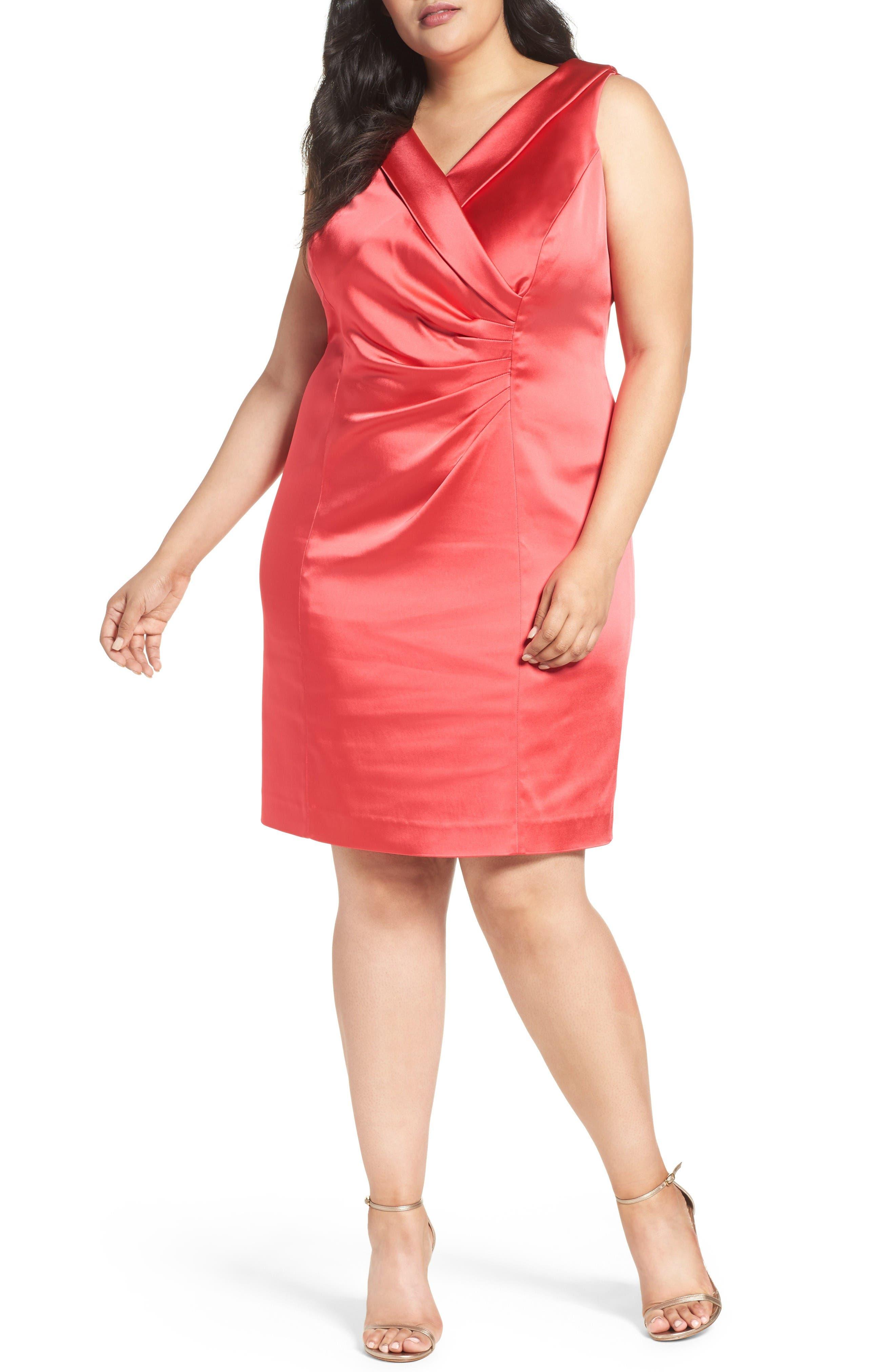 Collared Faux Wrap Dress,                         Main,                         color, Geranium