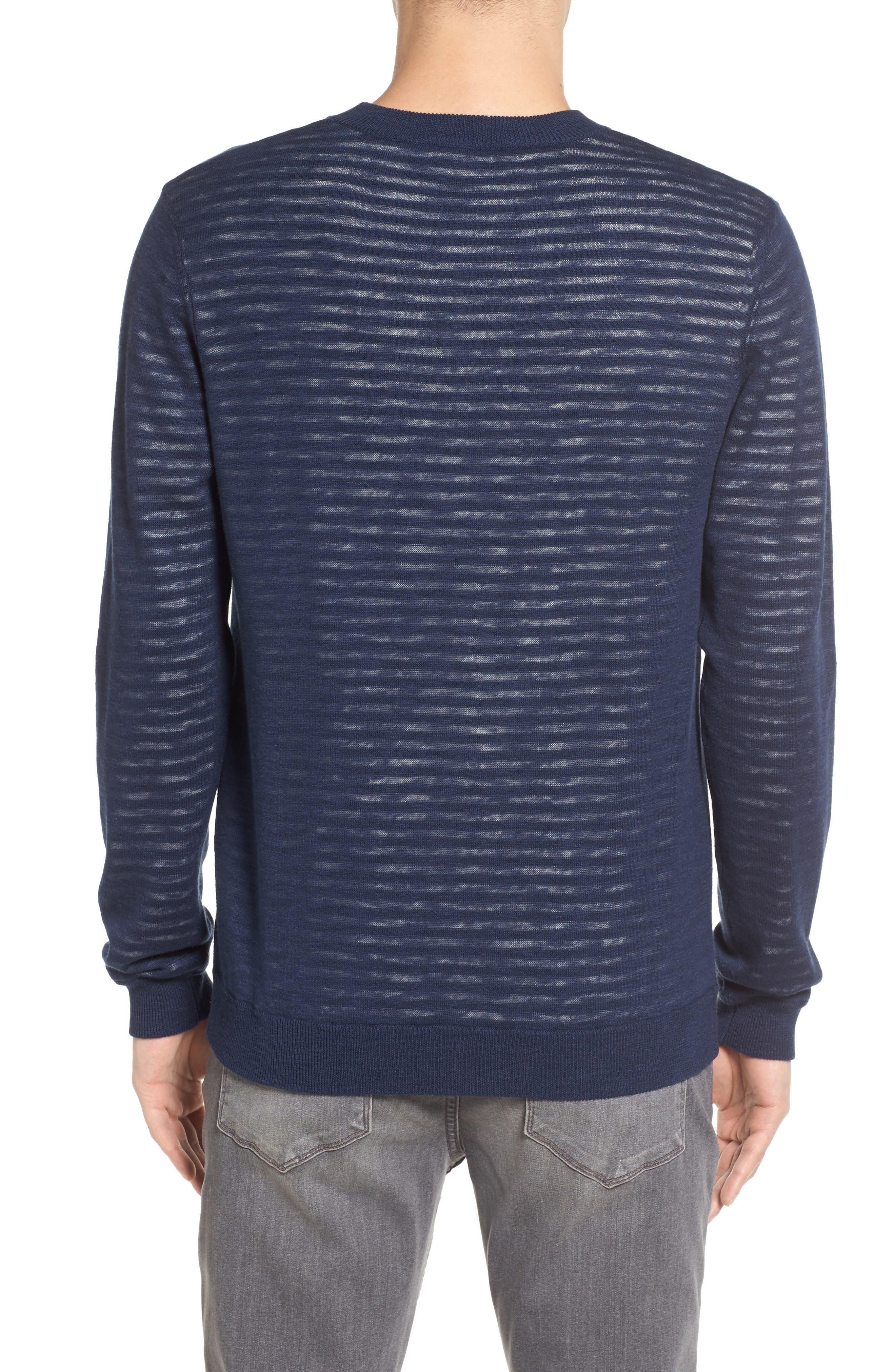 Luca Reversible Cotton & Linen Pullover,                             Alternate thumbnail 2, color,                             Turbid Stripe Night Sea/ White