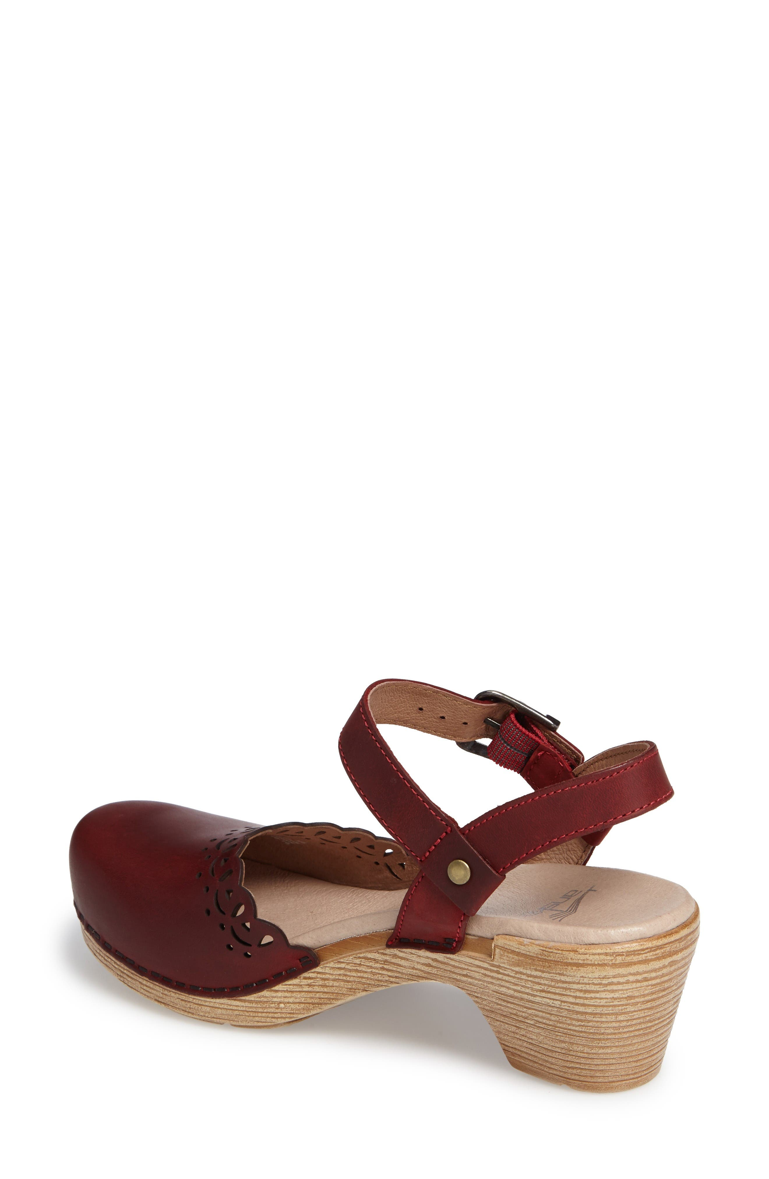 'Marta' Ankle Strap Clog,                             Alternate thumbnail 2, color,                             Red Oiled Leather