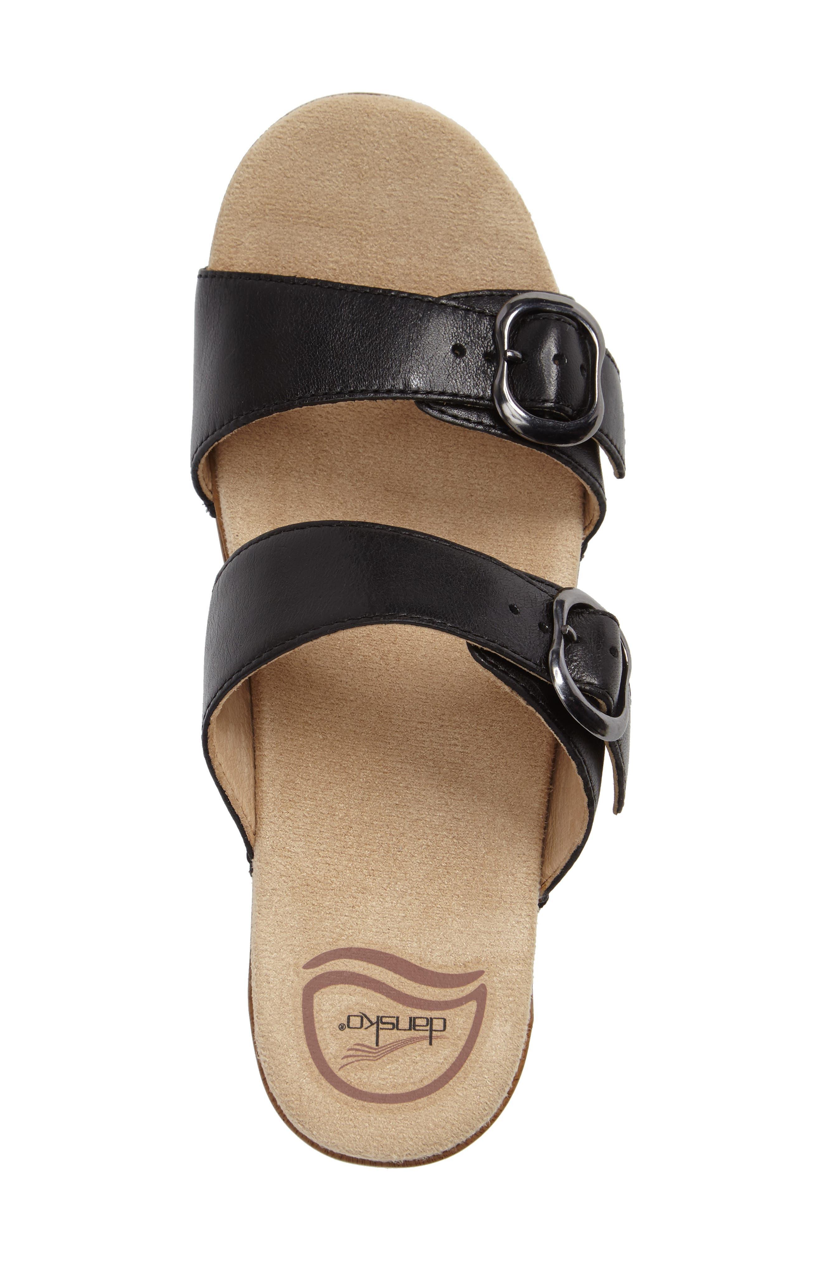 'Sophie' Sandal,                             Alternate thumbnail 3, color,                             Black Full Grain Leather