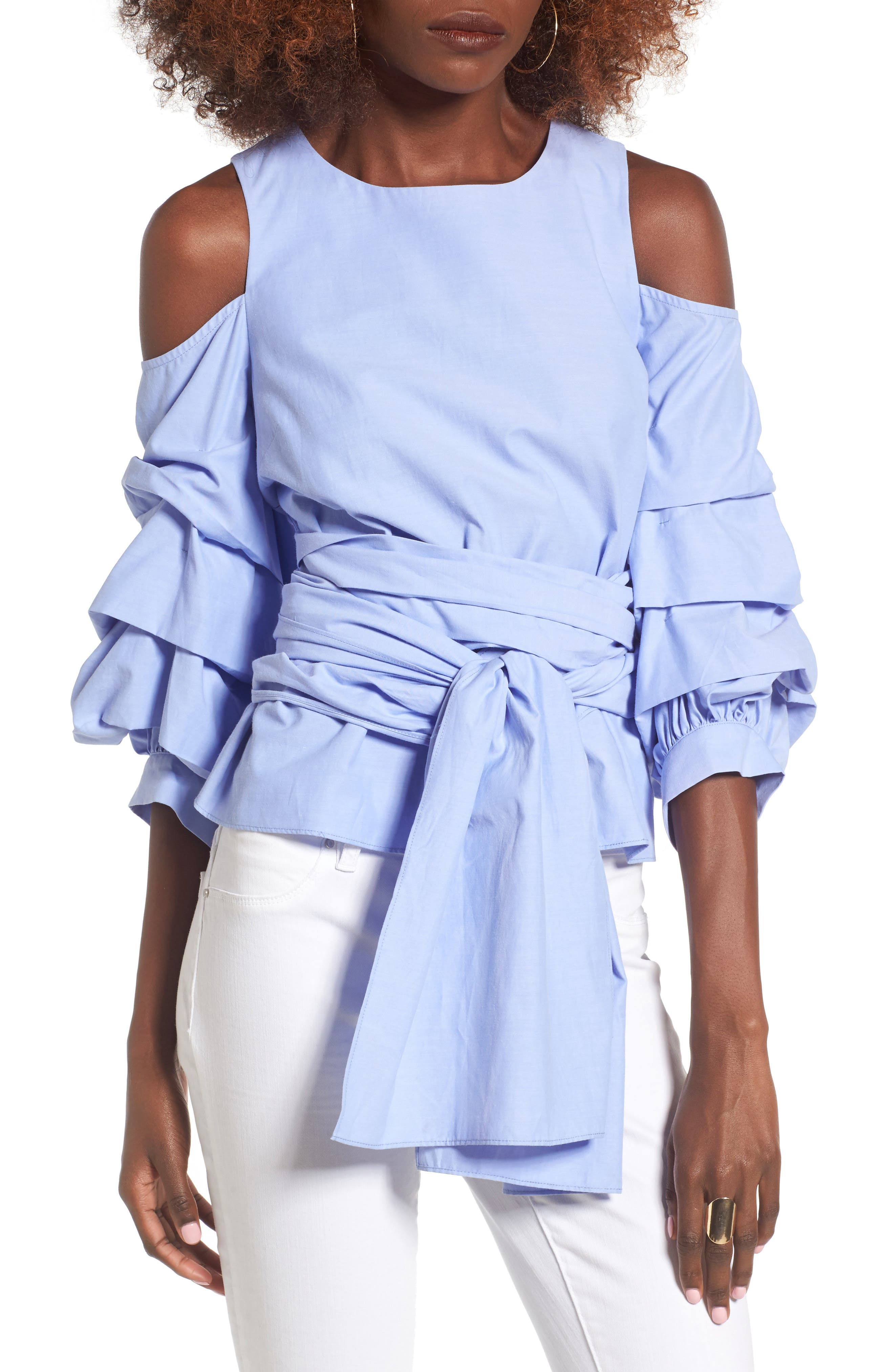 Alternate Image 4  - J.O.A. Ruffle Sleeve Tie Front Top