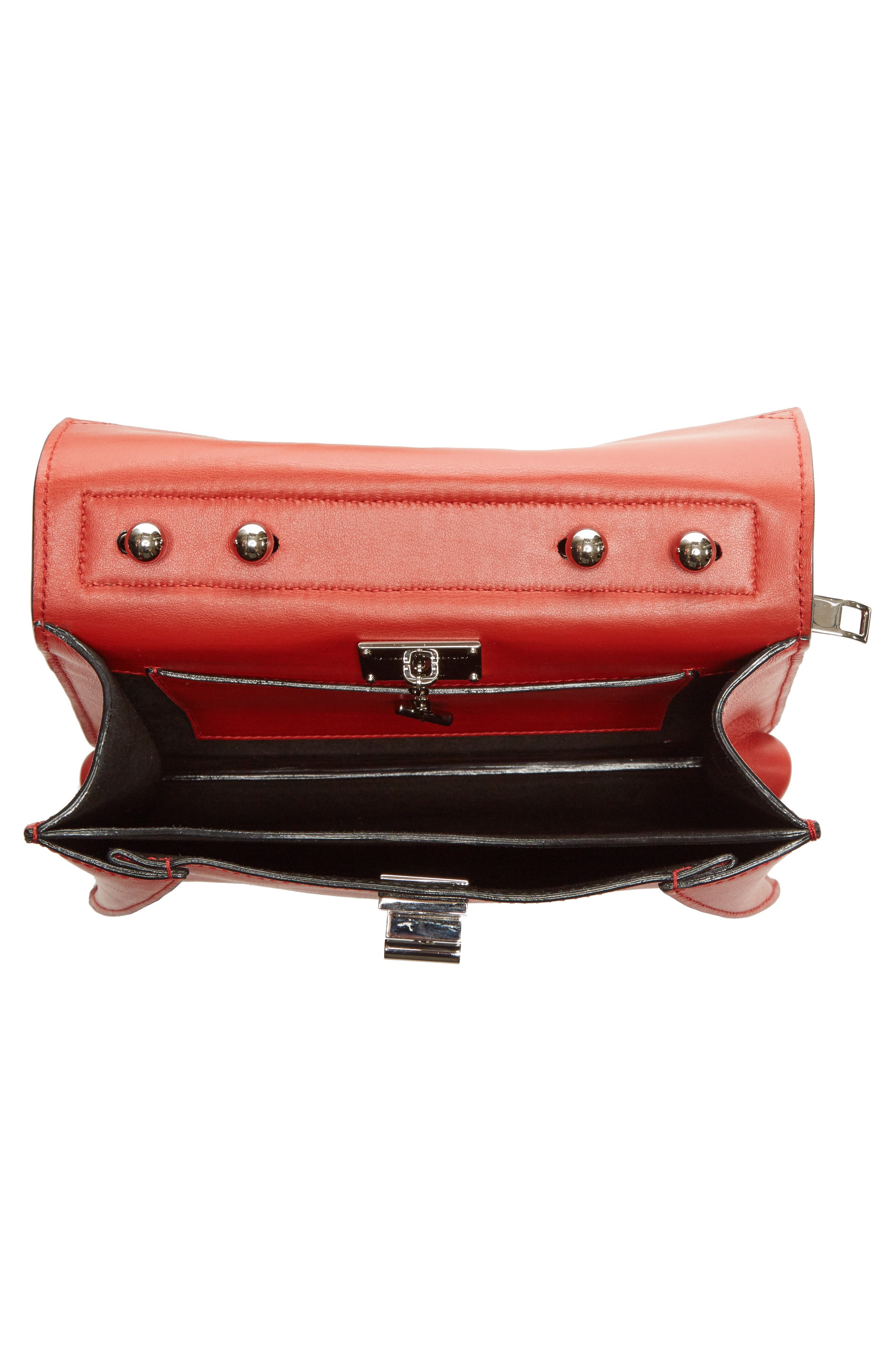 'Small Hava' Top Handle Calfskin Leather Satchel,                             Alternate thumbnail 3, color,                             Brick