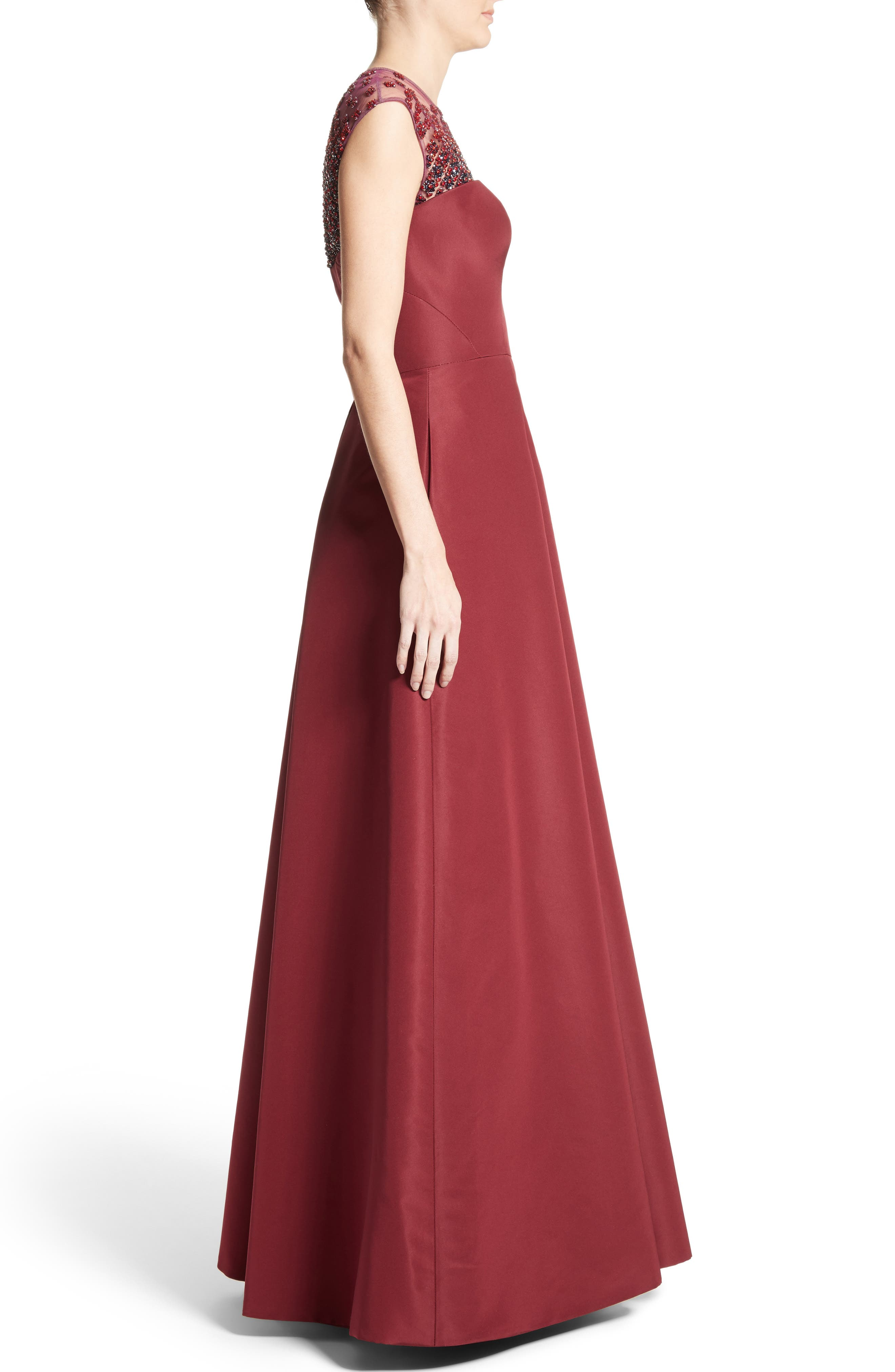 Beaded Silk Faille Gown,                             Alternate thumbnail 4, color,                             Red