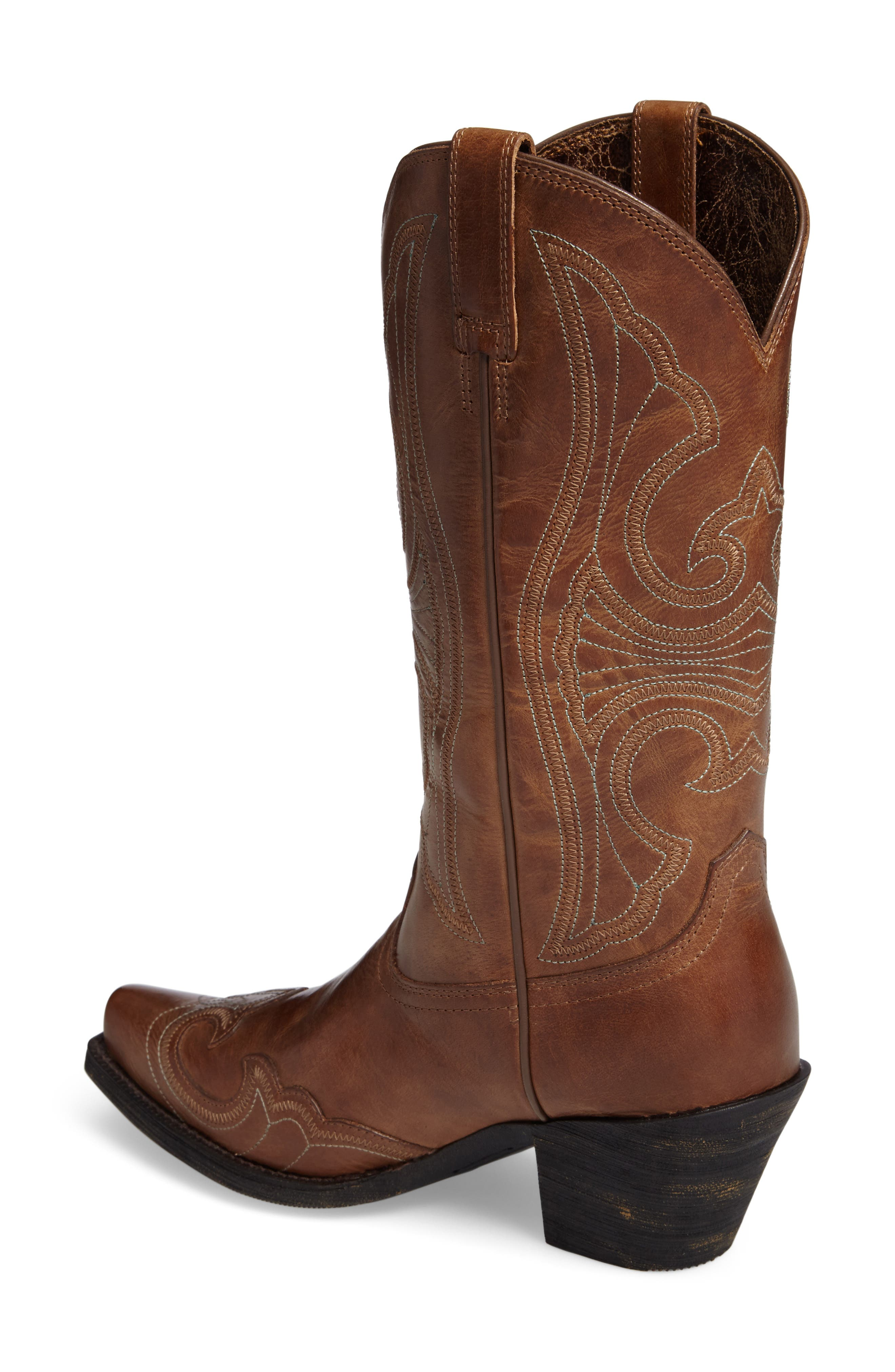 Round Up D-Toe Wingtip Western Boot,                             Alternate thumbnail 2, color,                             Sandstorm Leather