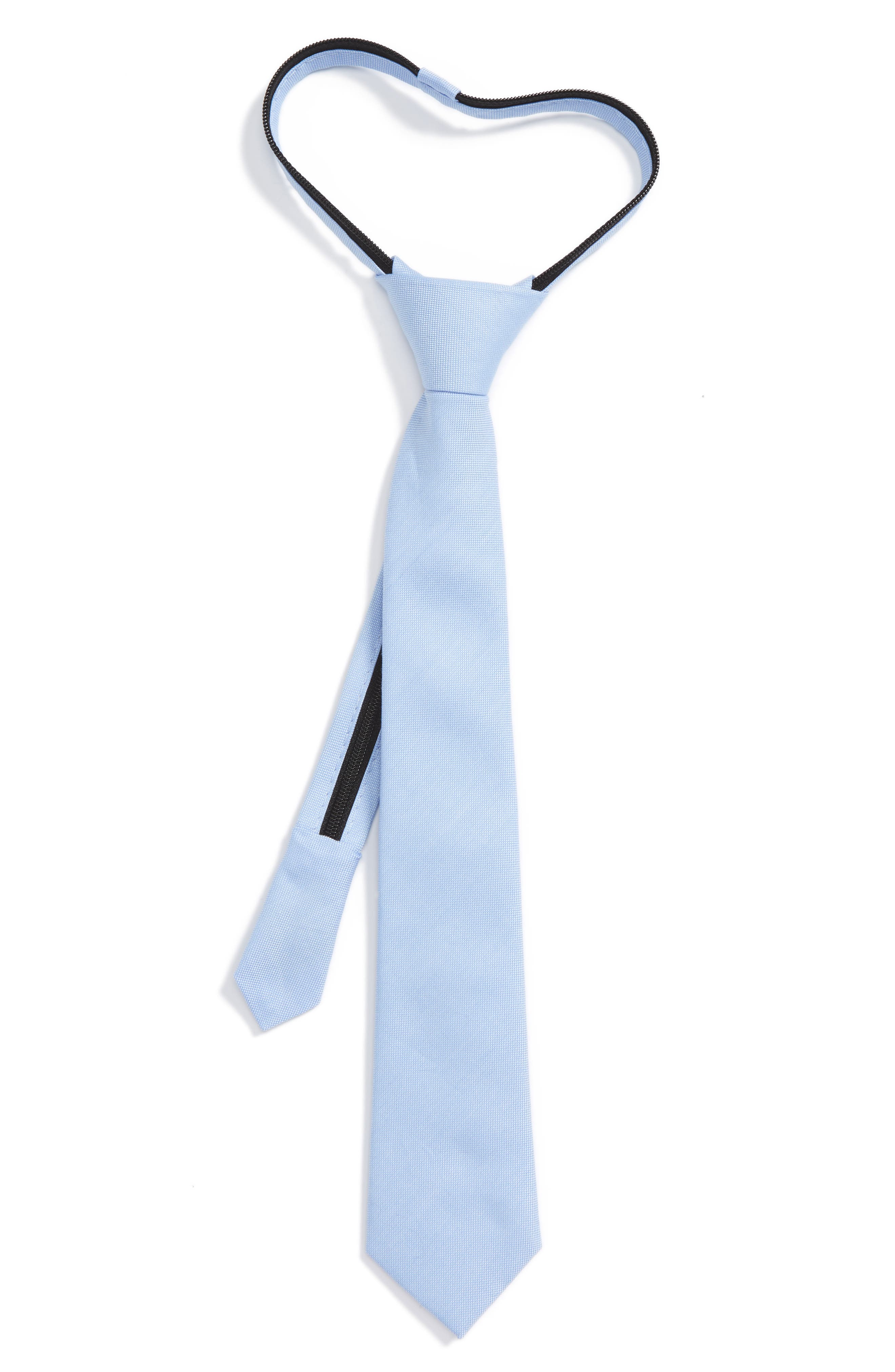 Solid Cotton Zipper Tie,                         Main,                         color, Light Blue Solid