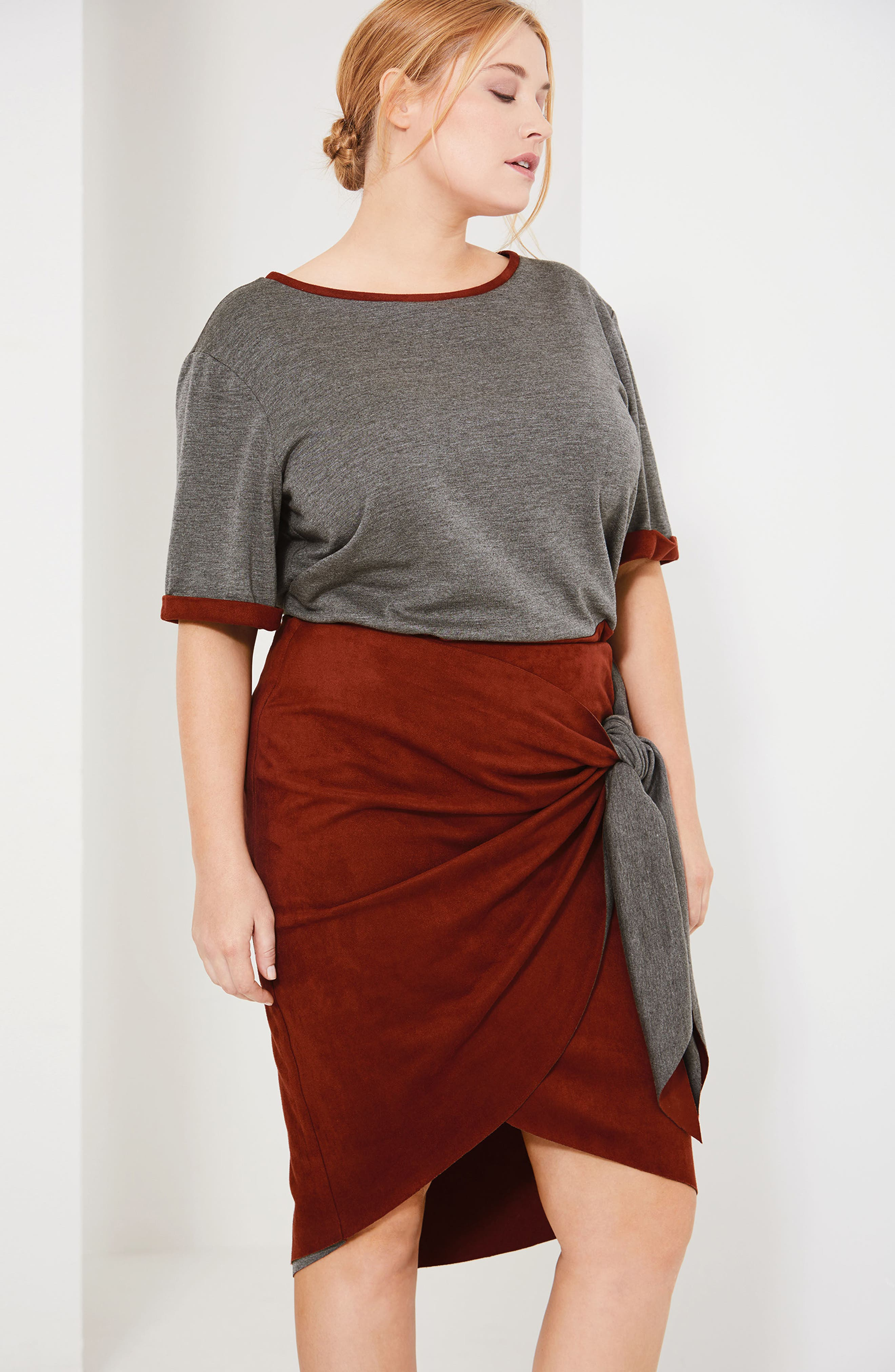 Alternate Image 2  - ELVI Faux Suede Skirt (Plus Size)