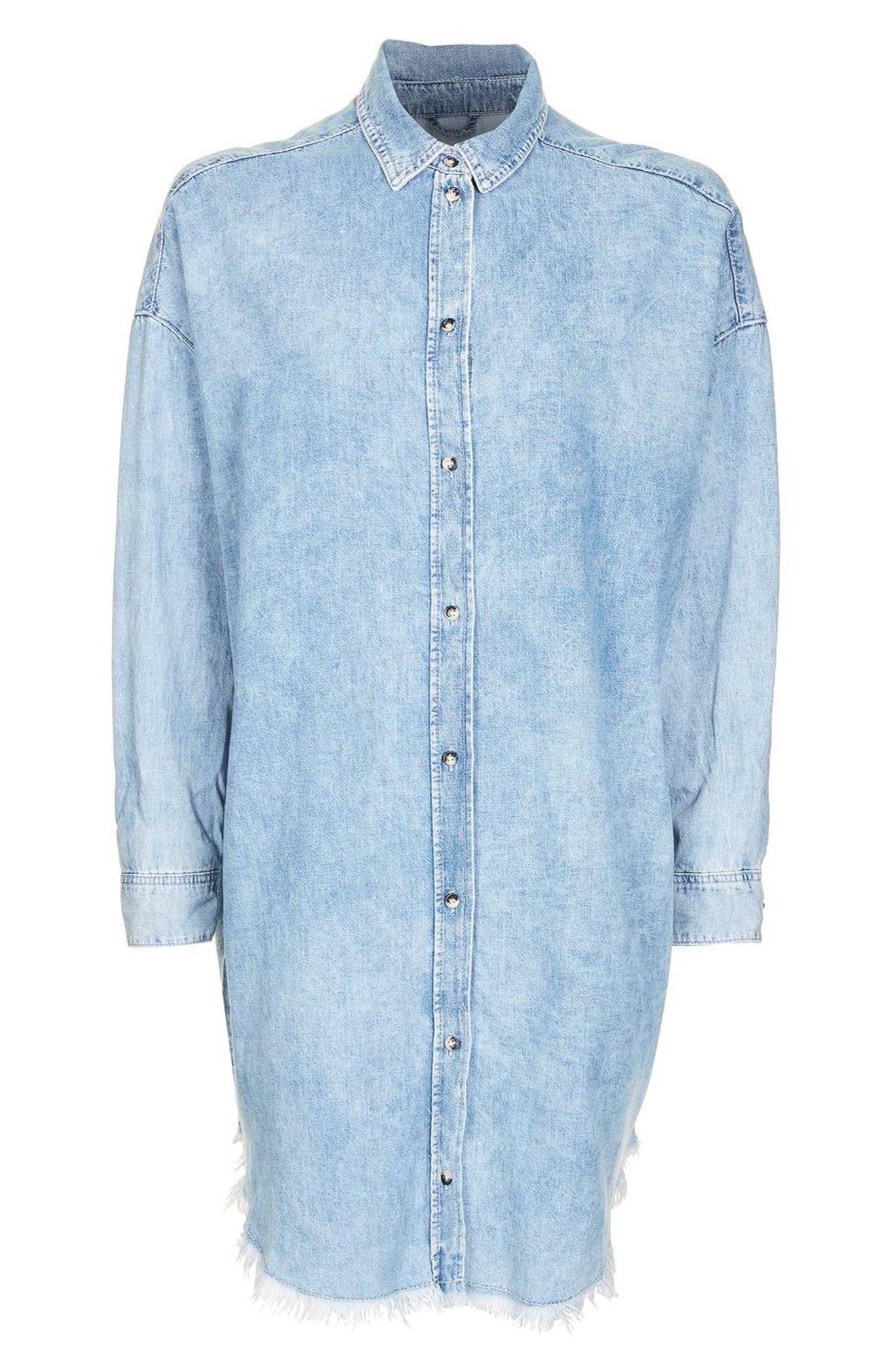Alternate Image 5  - Topshop Elton Fray Denim Shirtdress