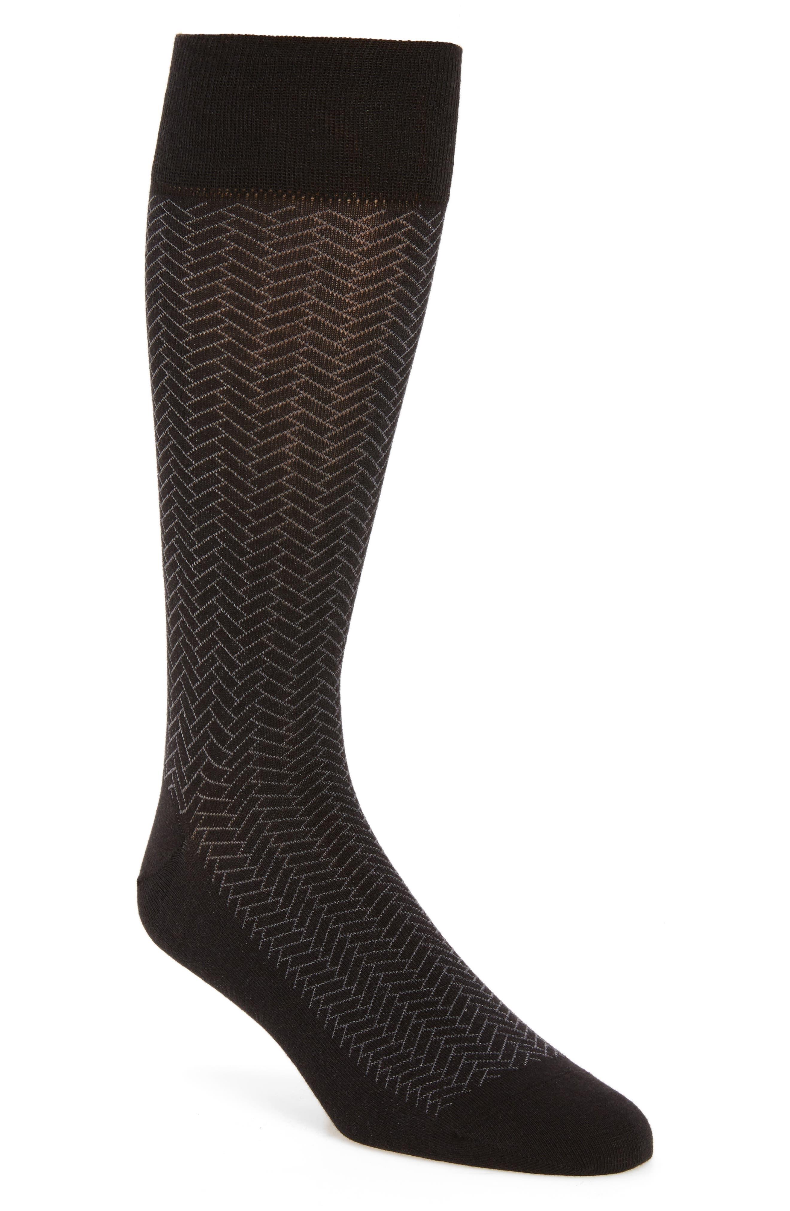 Geometric Crew Socks,                         Main,                         color, Black