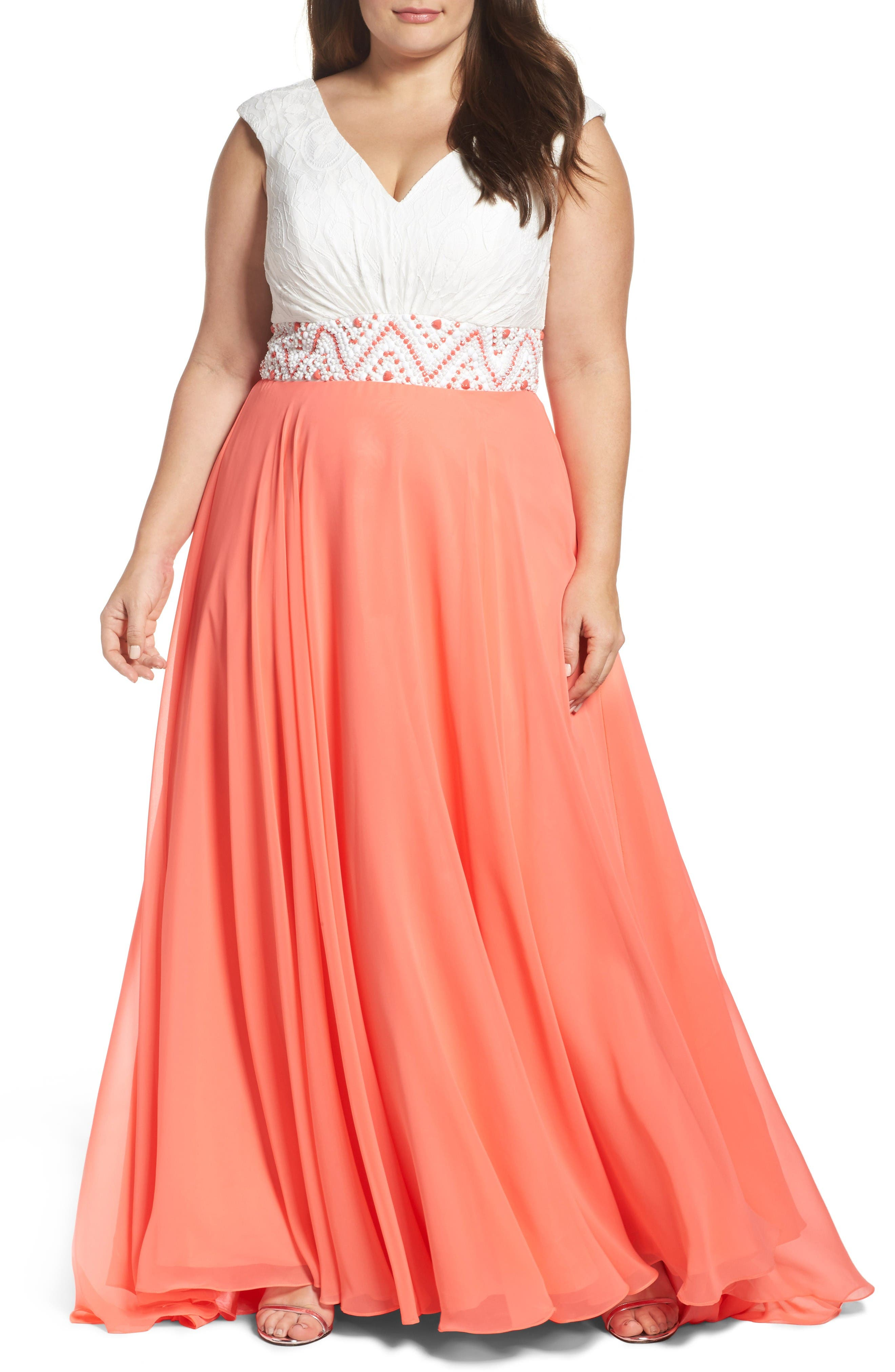 Colorblock Lace & Chiffon Gown,                         Main,                         color, Ivory Coral