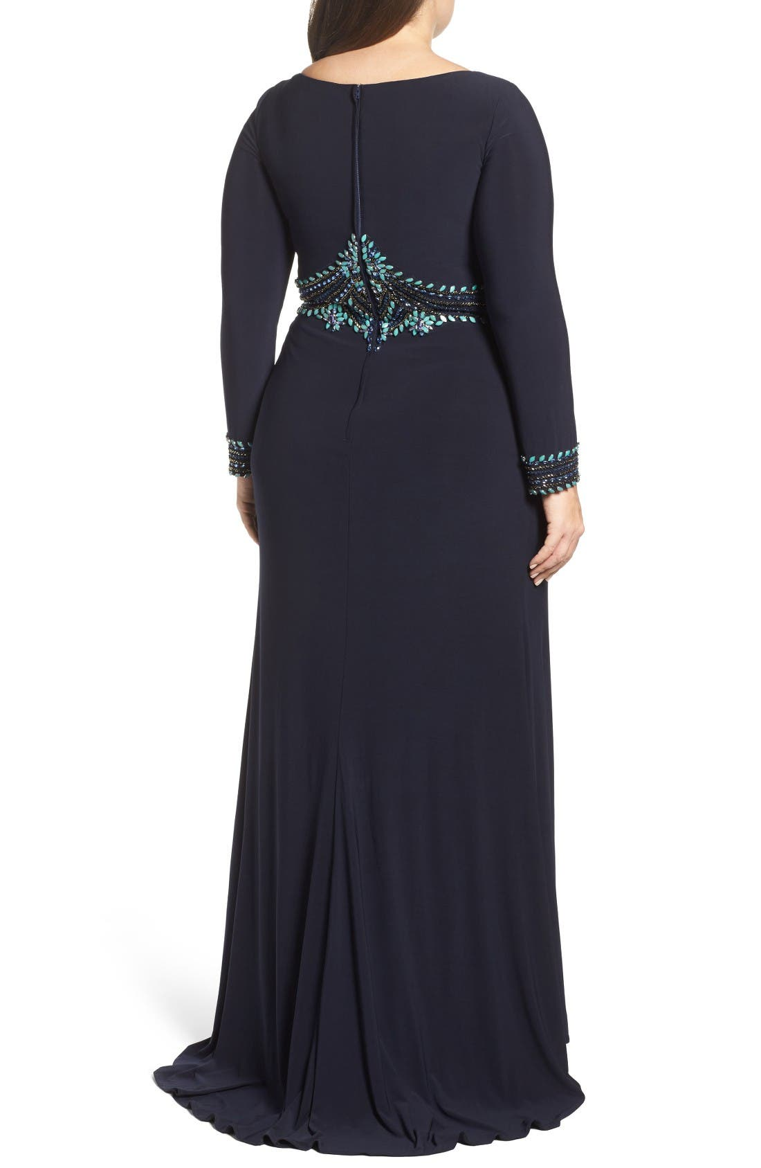 Embellished A-Line Jersey Gown,                             Alternate thumbnail 2, color,                             Navy Multi