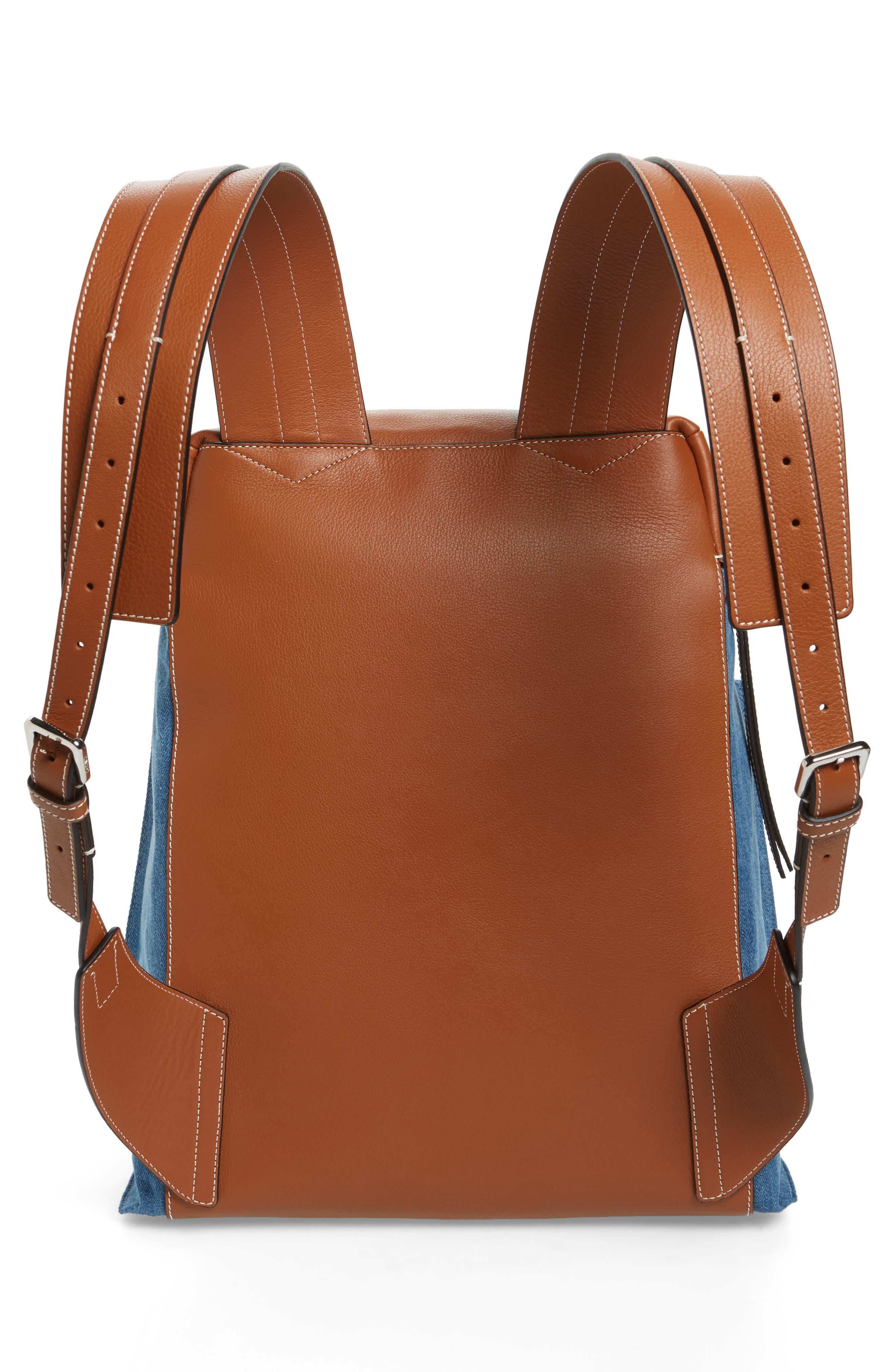 T Small Denim & Leather Backpack,                             Alternate thumbnail 3, color,                             Dark Blue/Tan