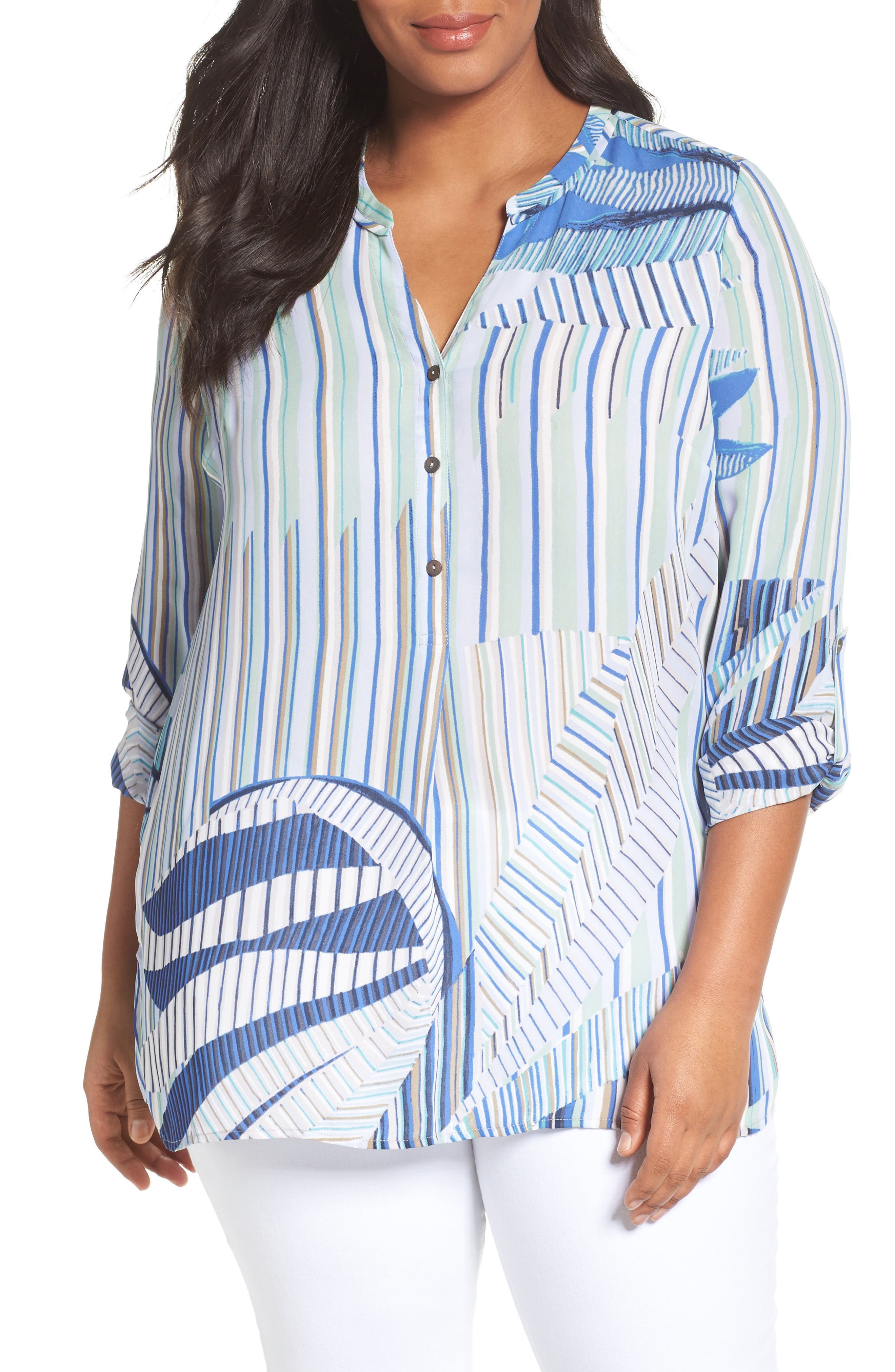 Palm Lines Roll Sleeve Blouse,                         Main,                         color, Blue Multi
