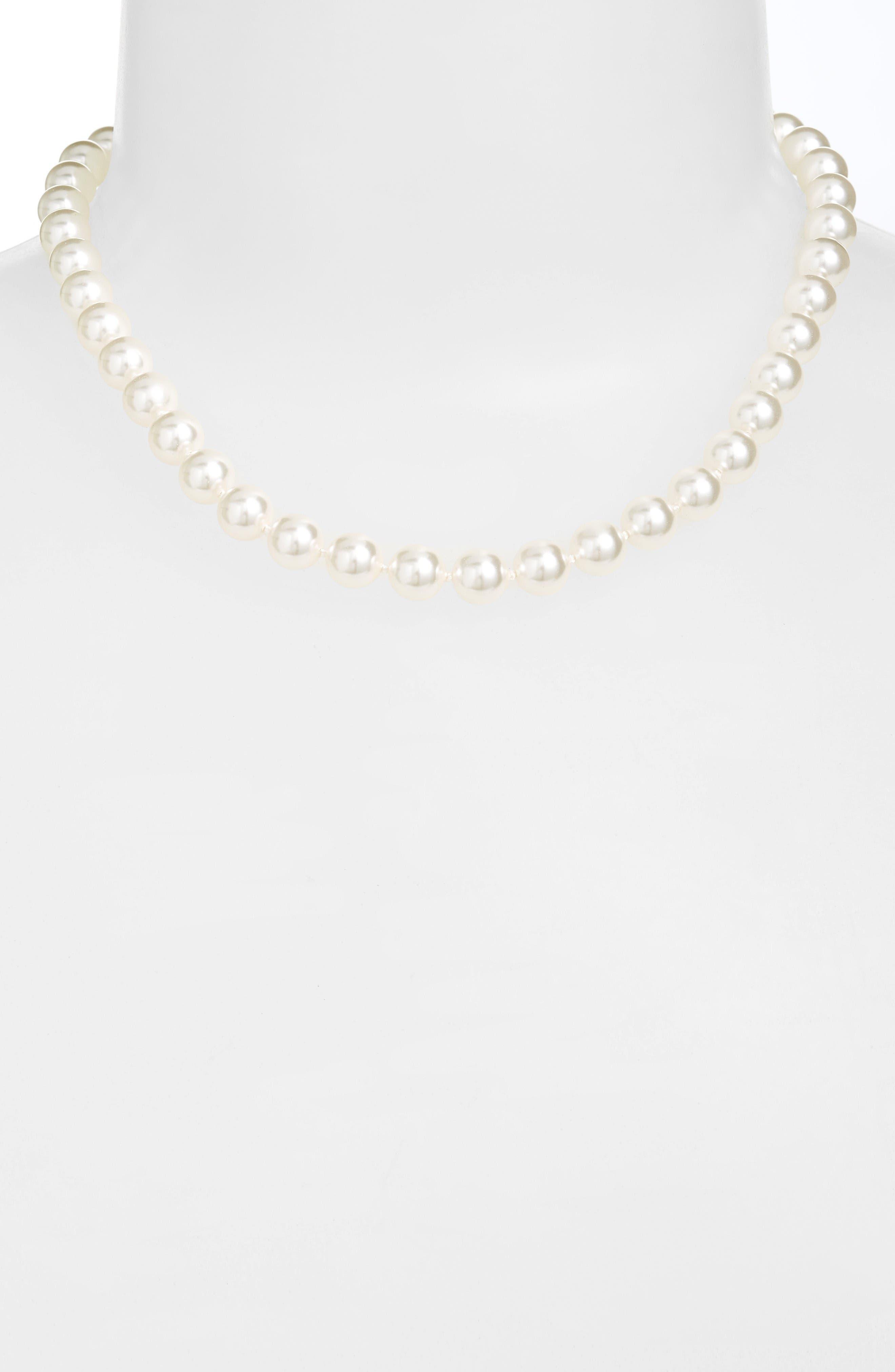 NADRI 16-Inch Glass Pearl Strand Necklace