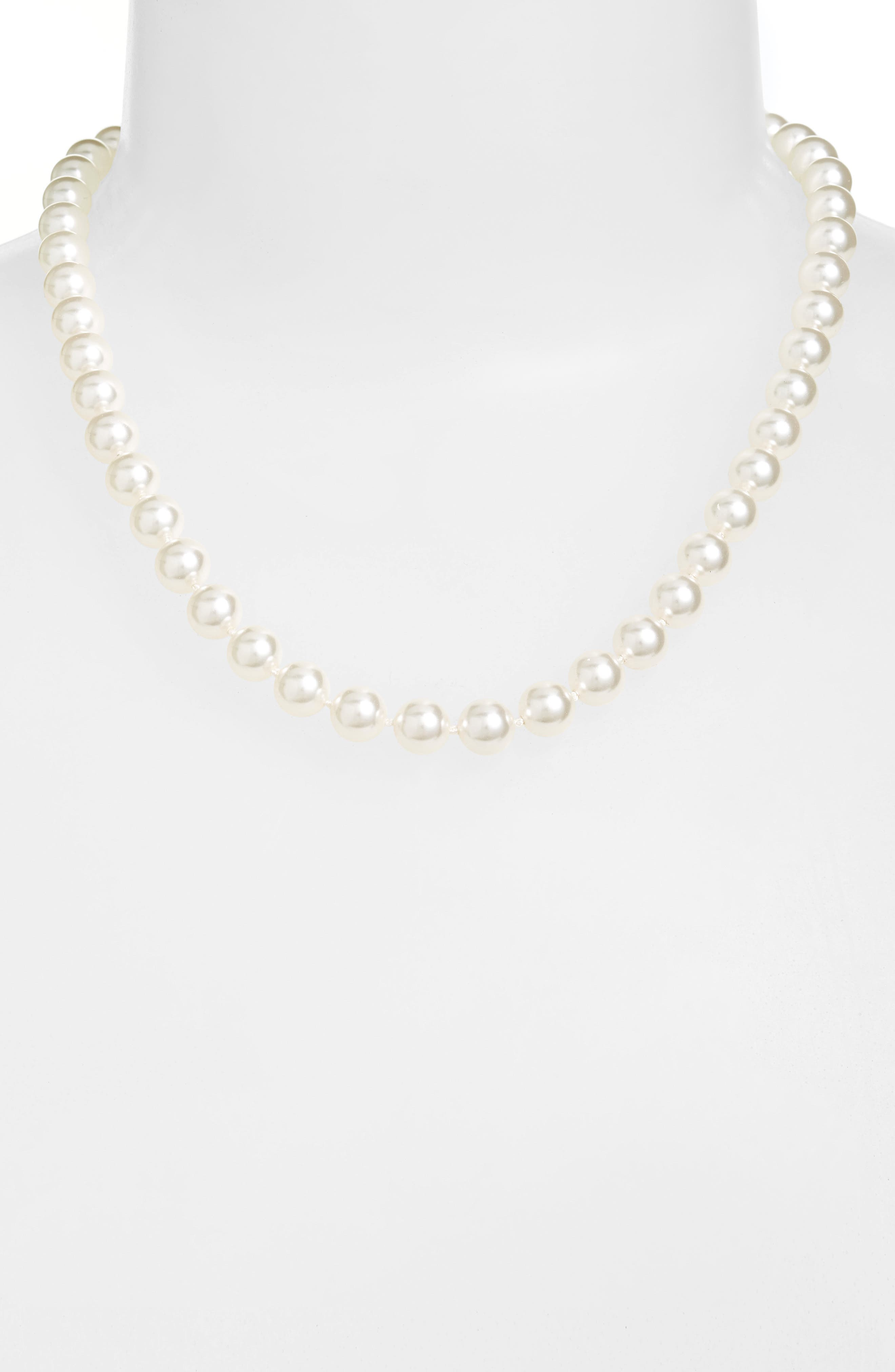 18-Inch Glass Pearl Strand Necklace,                         Main,                         color, White Pearl