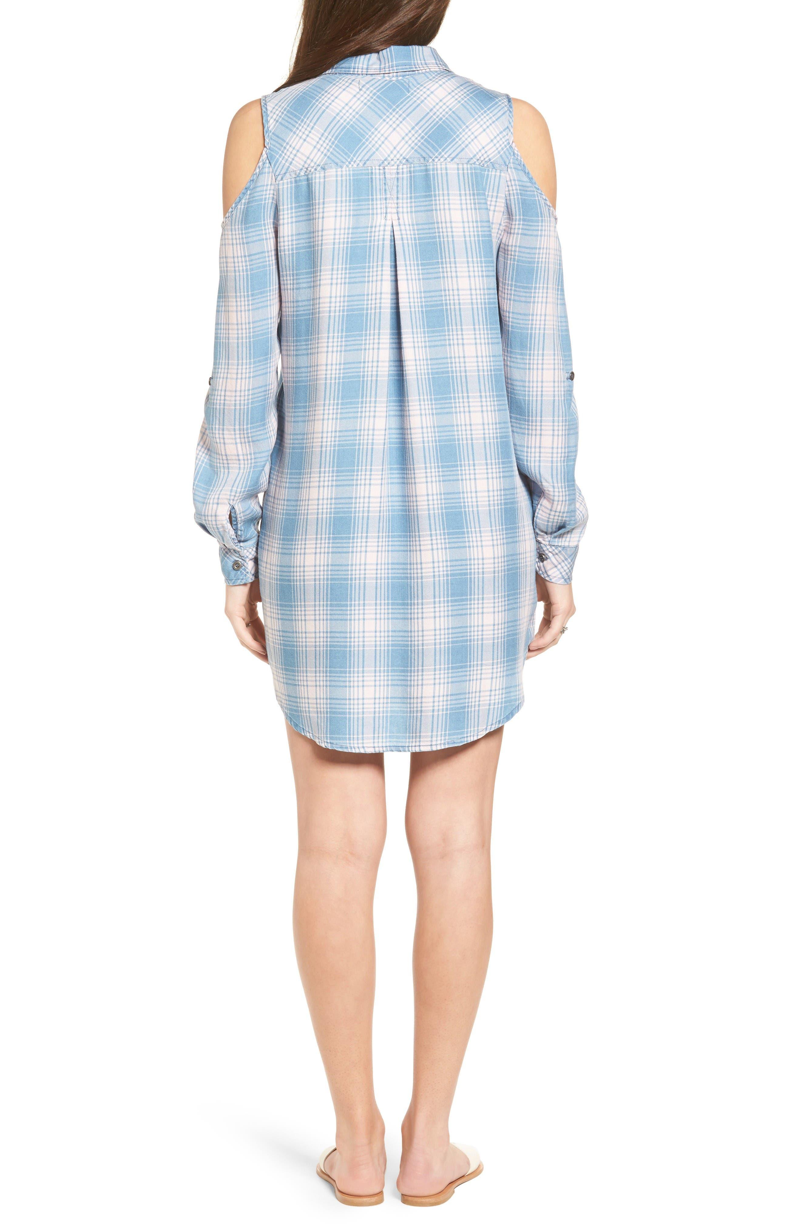 Cold Shoulder Plaid Shirtdress,                             Alternate thumbnail 2, color,                             Pink Plaid