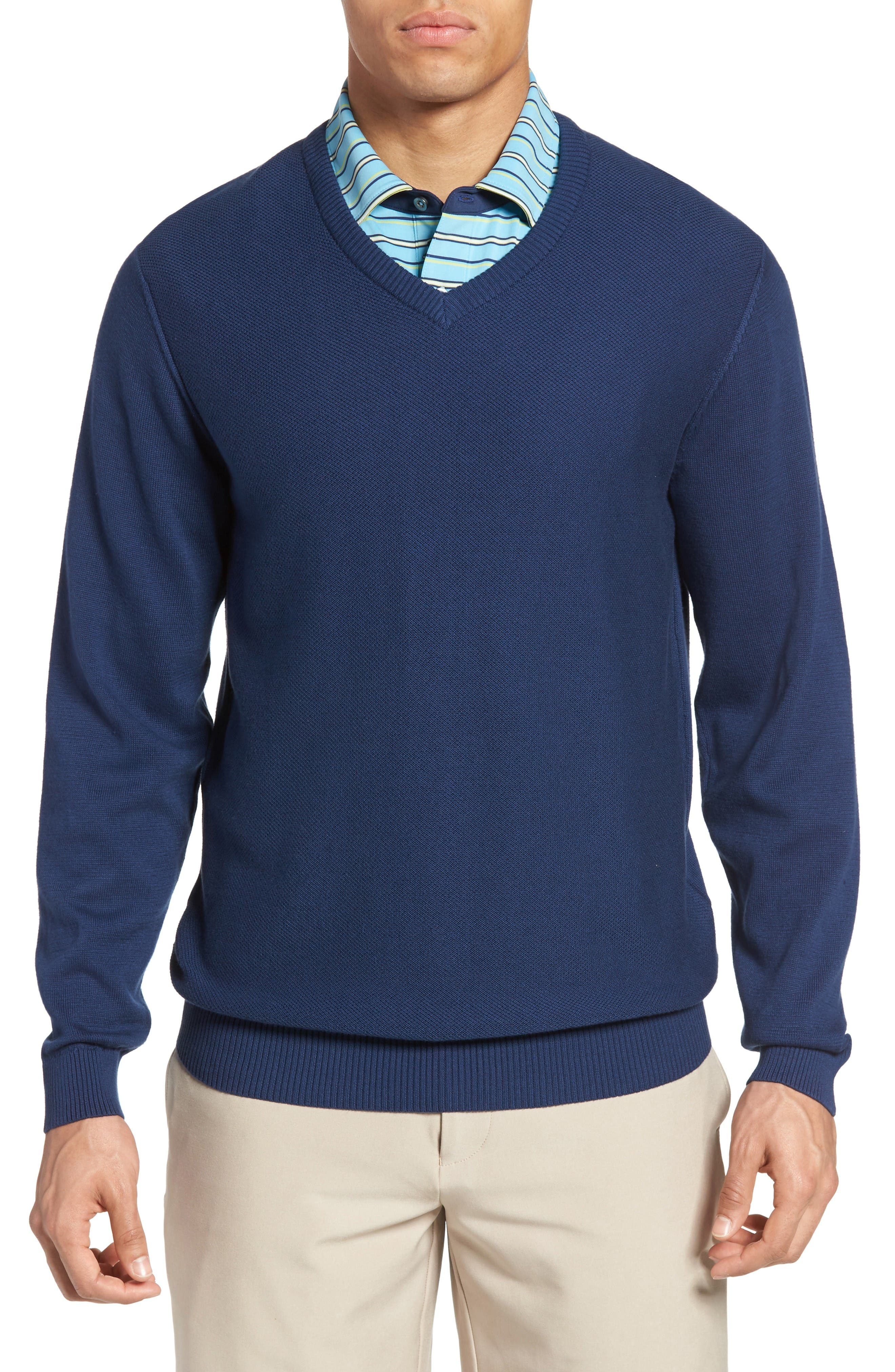 Piqué Jersey V-Neck Sweater,                             Main thumbnail 1, color,                             Summer Navy
