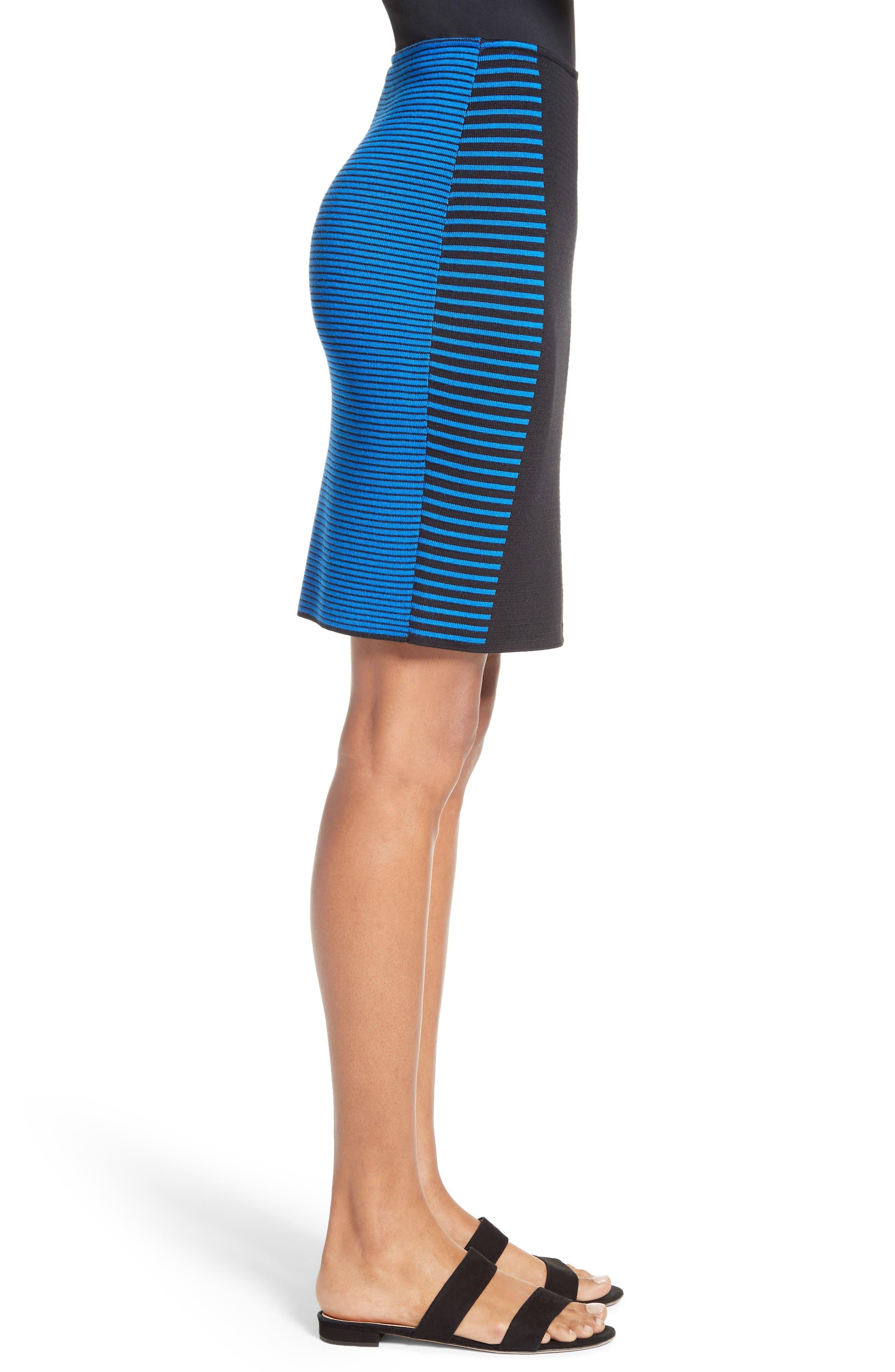 Stripe Knit Jacquard Pencil Skirt,                             Alternate thumbnail 3, color,                             Caviar/ Jaya Blue