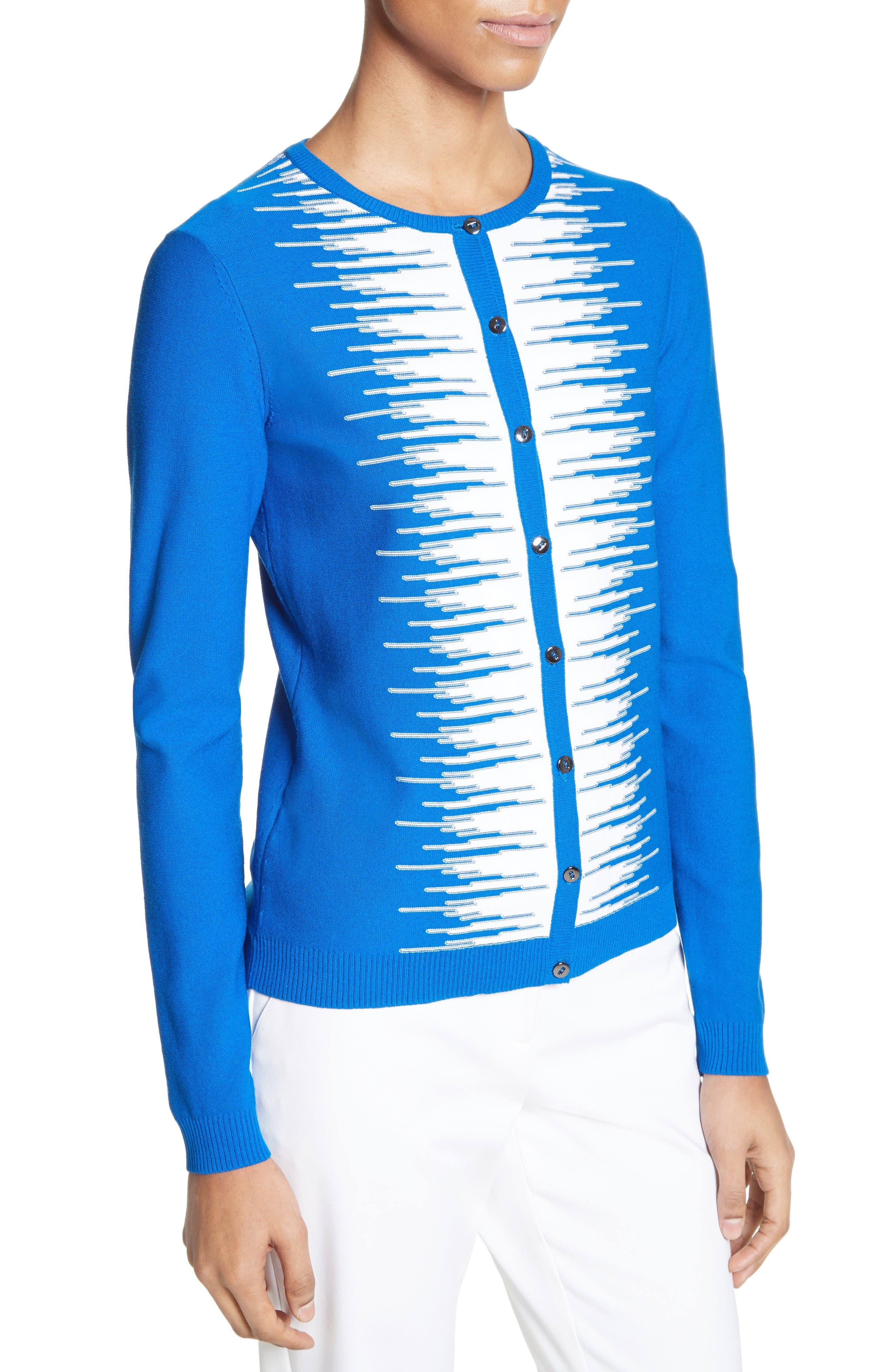 Stripe Intarsia Knit Cardigan,                             Alternate thumbnail 6, color,                             Jaya Blue/ Bianco