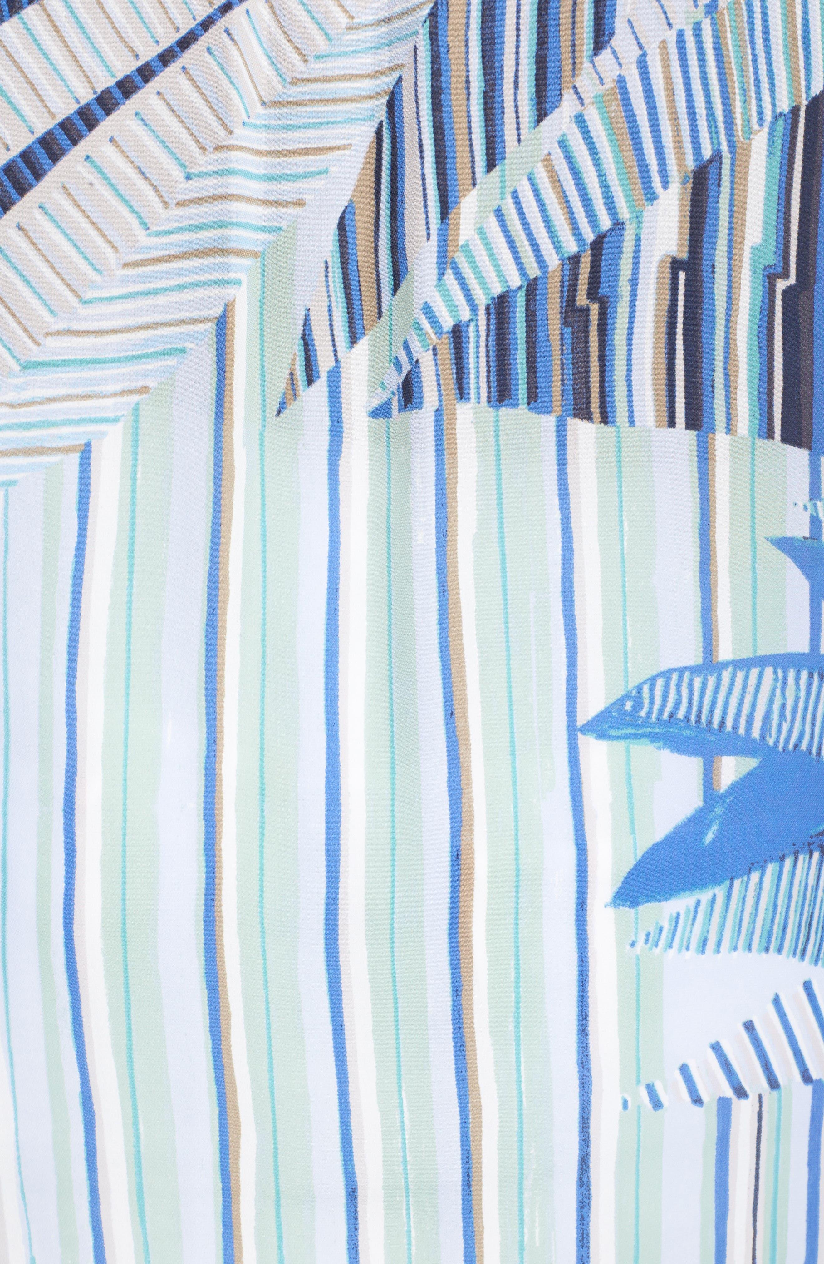 Palm Lines Roll Sleeve Blouse,                             Alternate thumbnail 5, color,                             Blue Multi