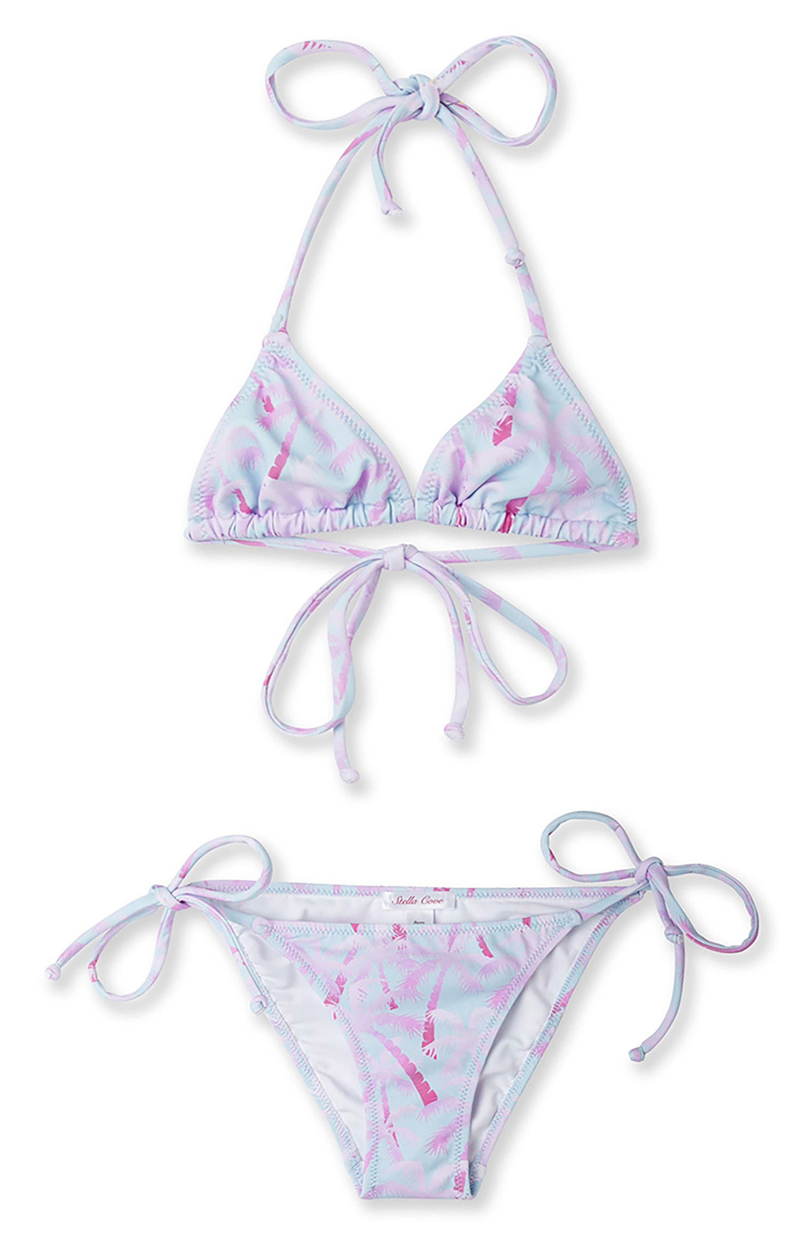 Tropical Palm Tree Two-Piece Swimsuit,                         Main,                         color, Pink