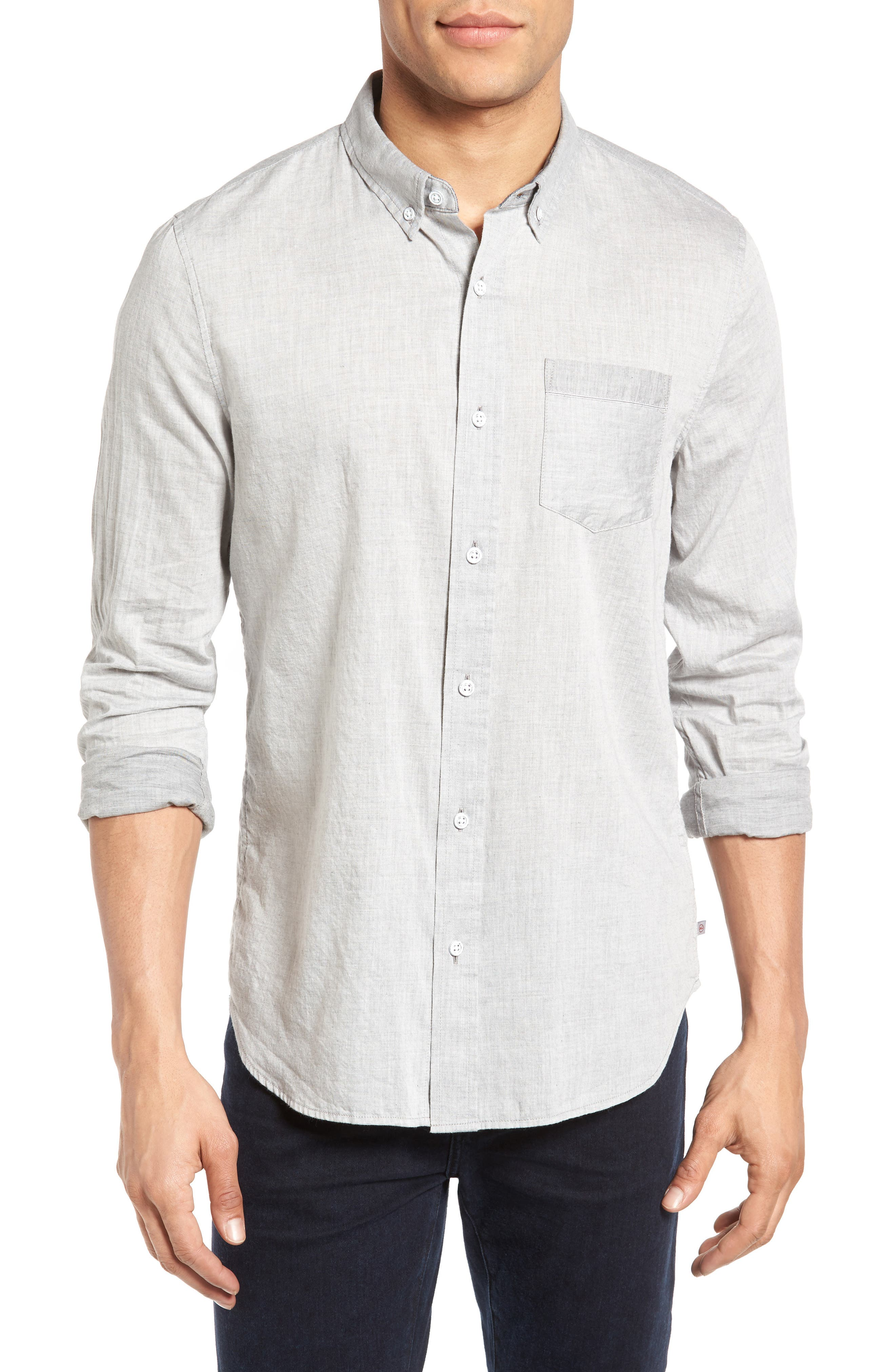 Grady Trim Fit Sport Shirt,                         Main,                         color, Heather Grey