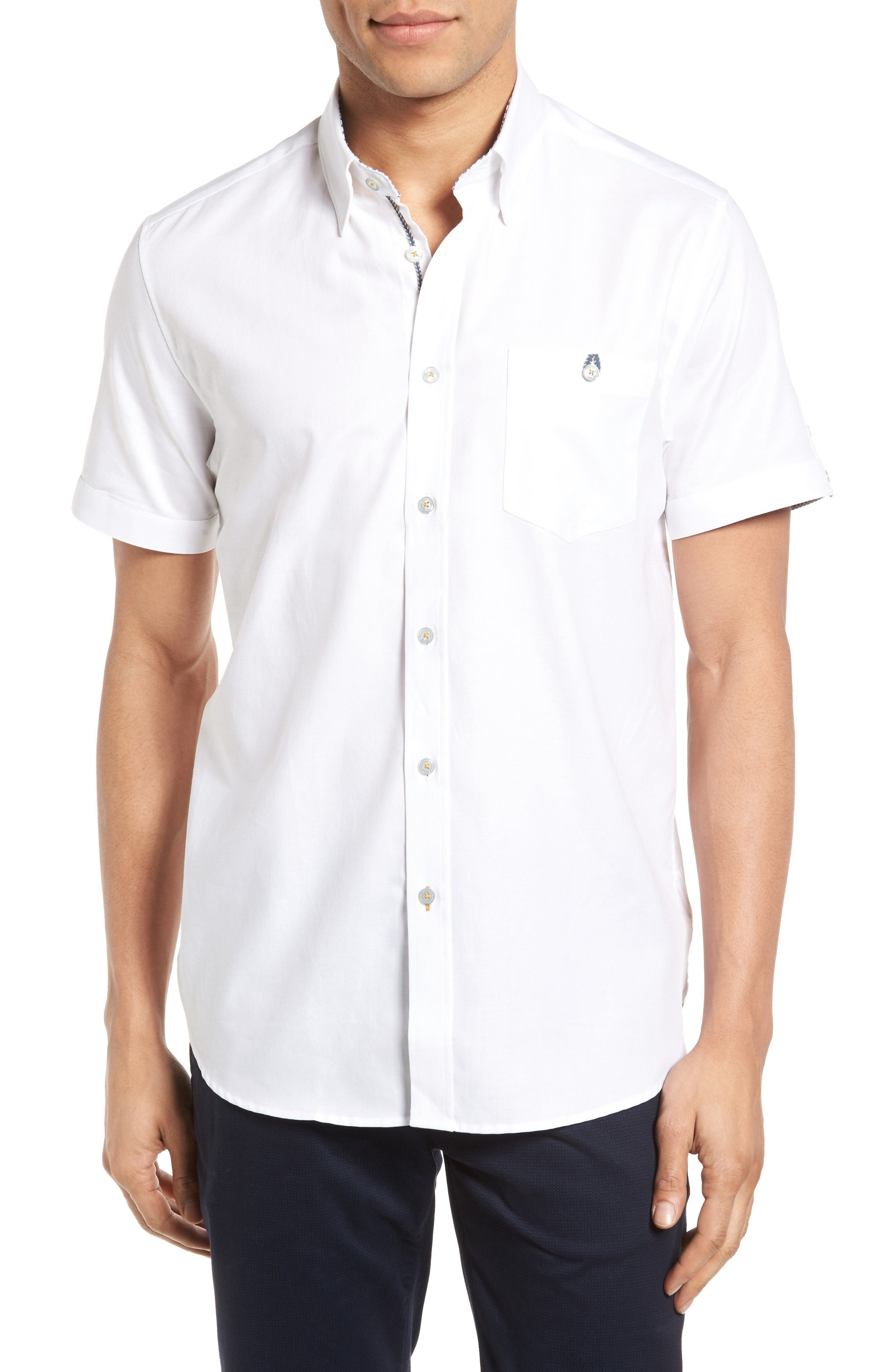 Wooey Extra Slim Fit Mini Texture Sport Shirt,                         Main,                         color, White
