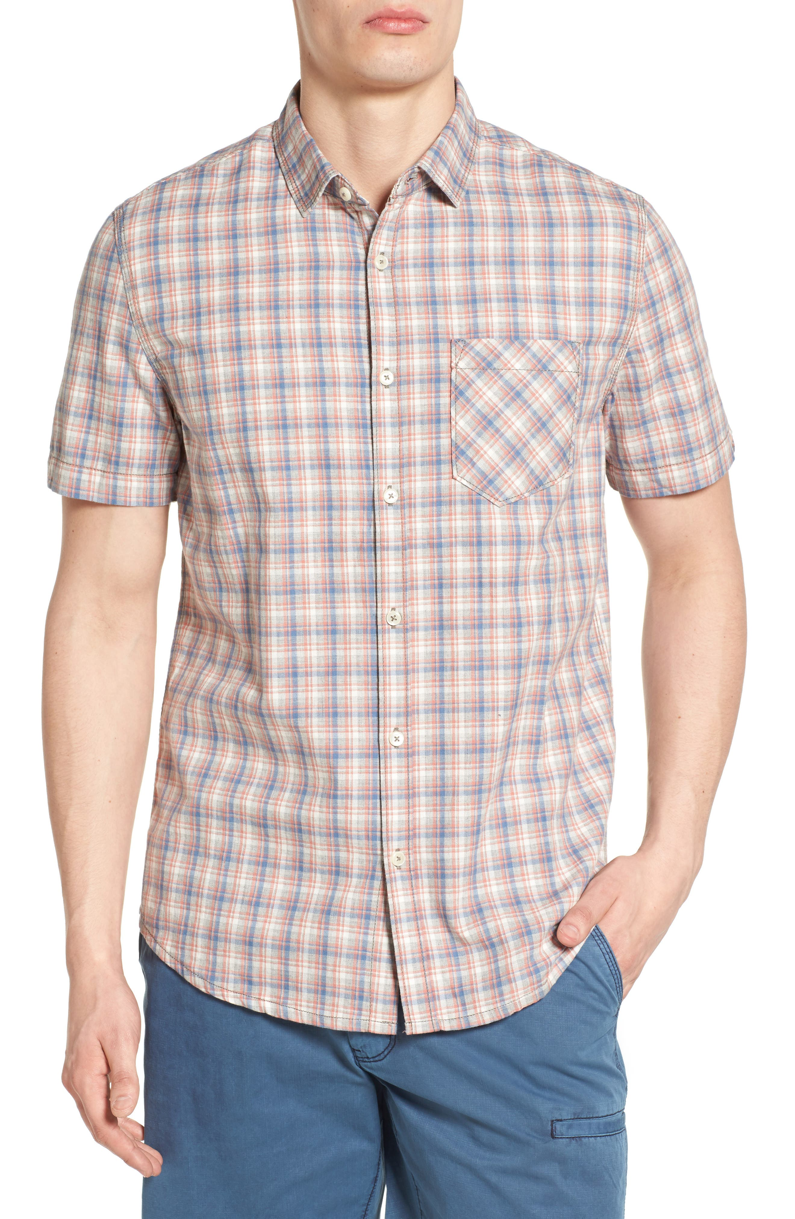 Jeremiah Solana Regular Fit Herringbone Plaid Sport Shirt