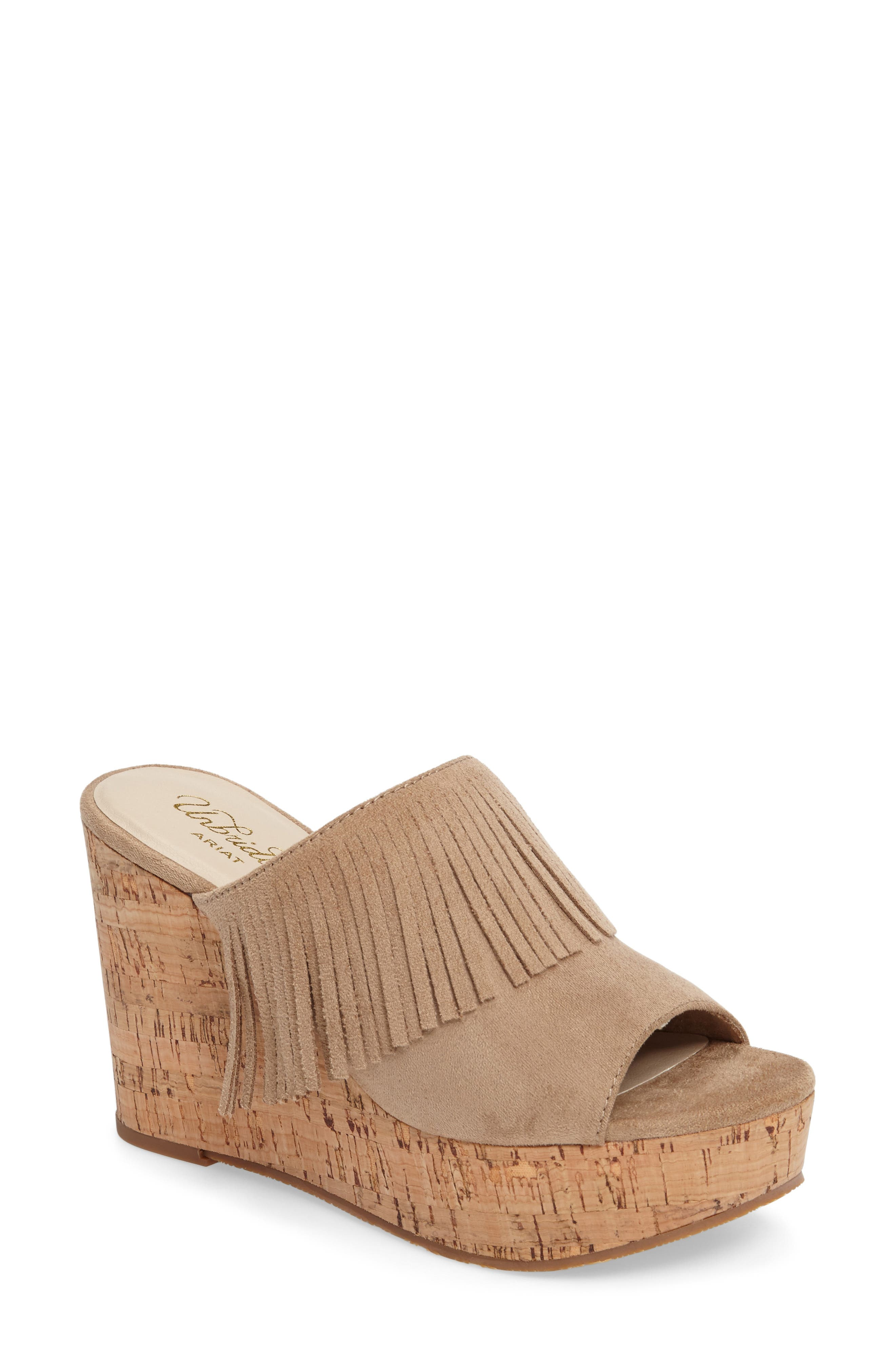 Unbridled Leigh Fringe Mule,                             Main thumbnail 1, color,                             Sand Fabric