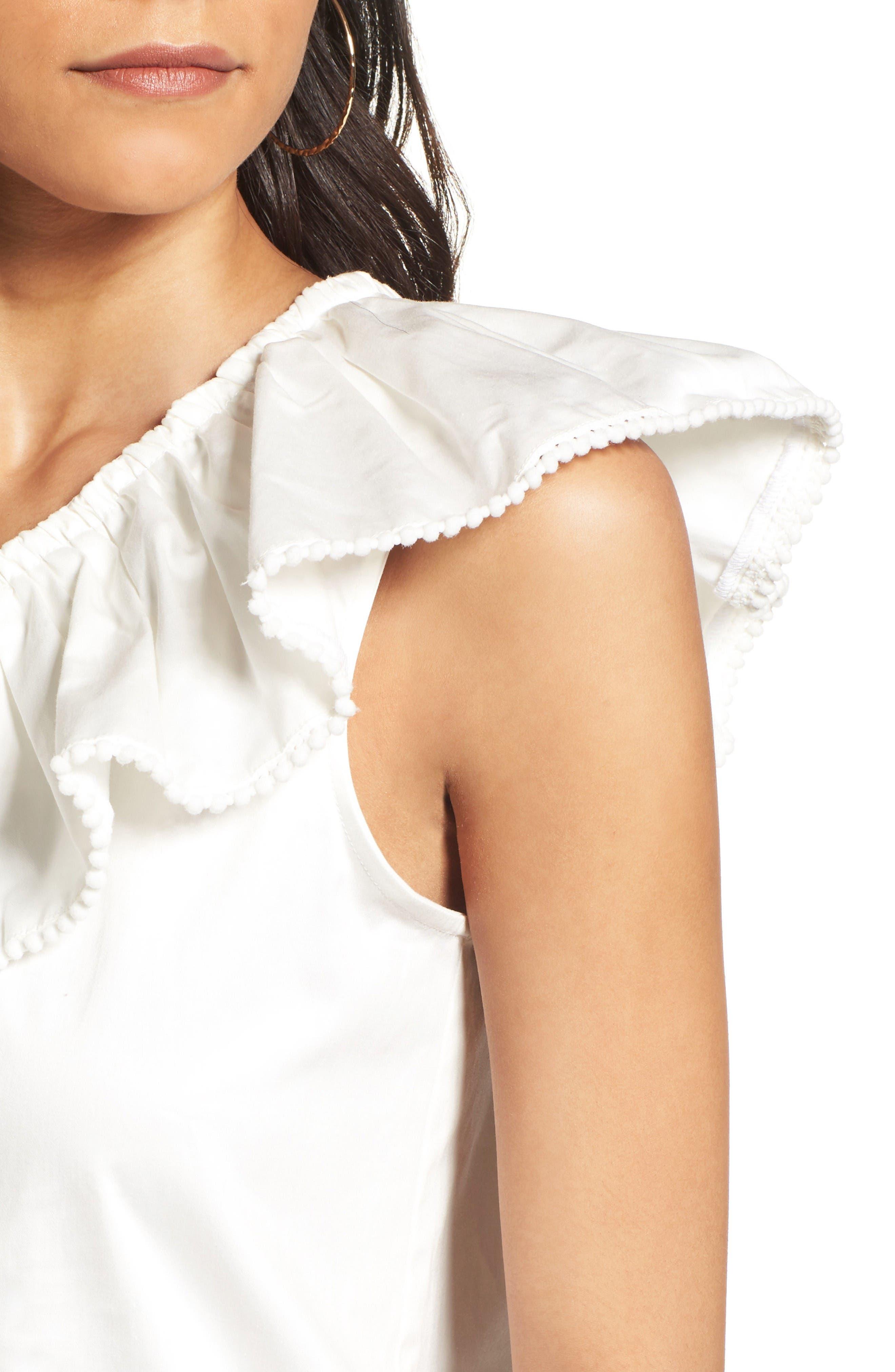 Vanessa One-Shoulder Blouse,                             Alternate thumbnail 4, color,                             White