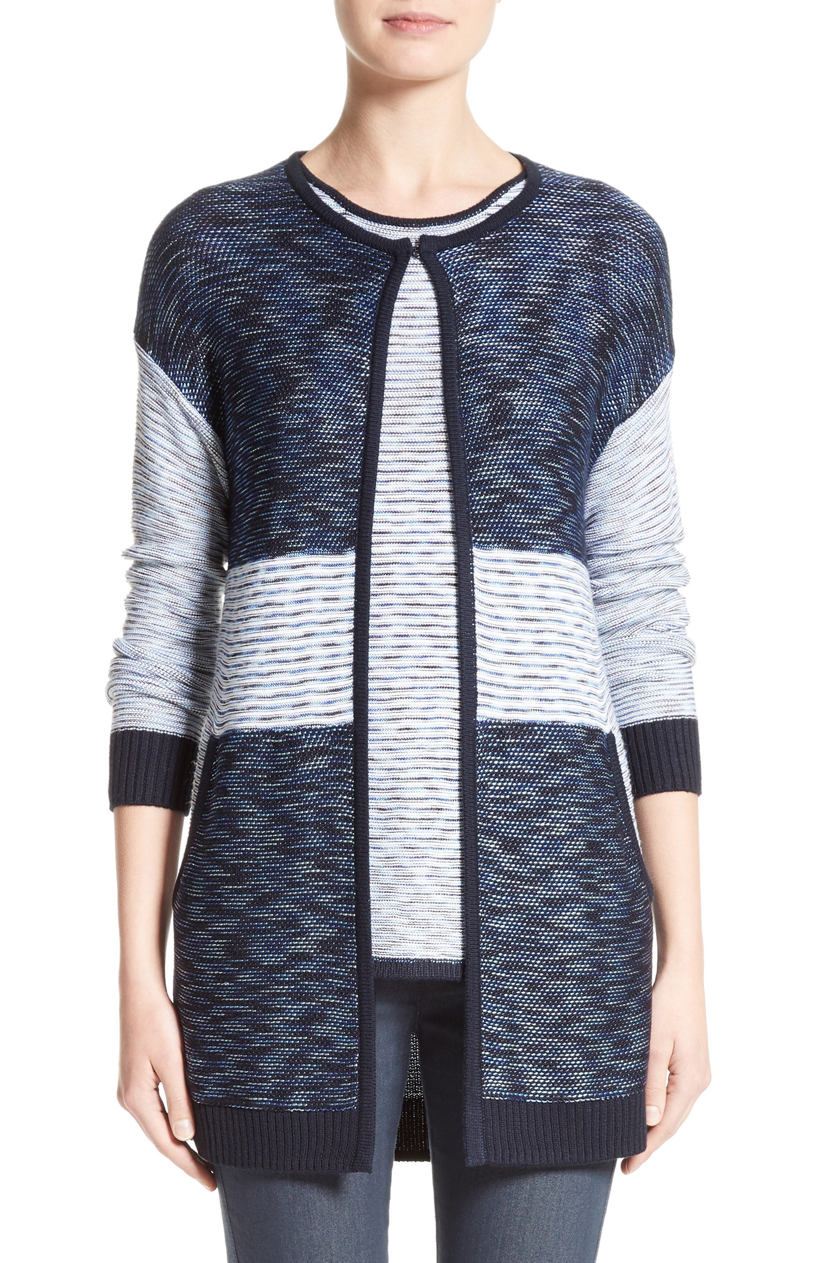 Chambray Effect Links Knit Cardigan,                         Main,                         color, Bianco/ Navy Multi