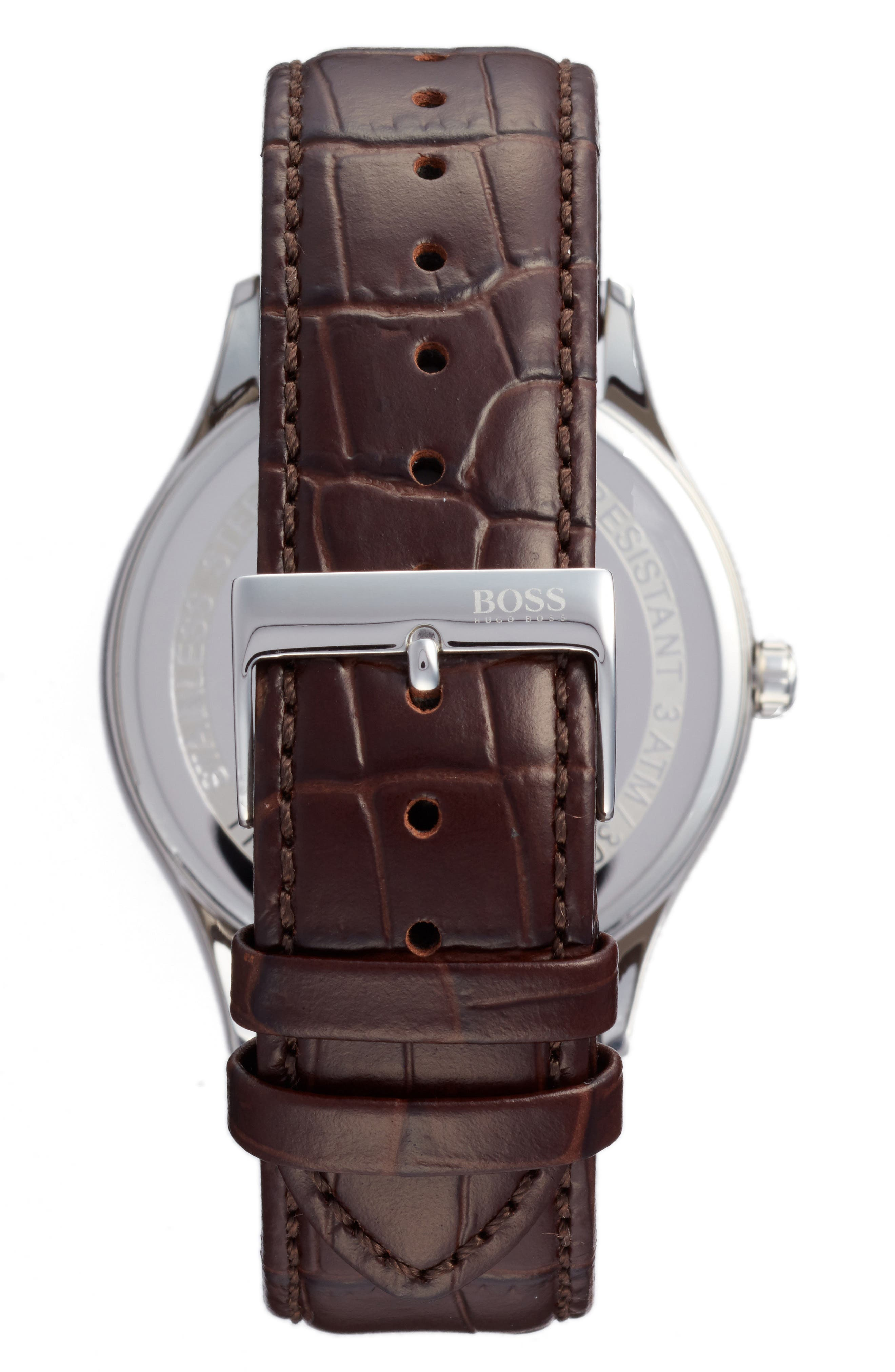 Alternate Image 2  - BOSS Governor Croc Embossed Leather Strap Watch, 44mm