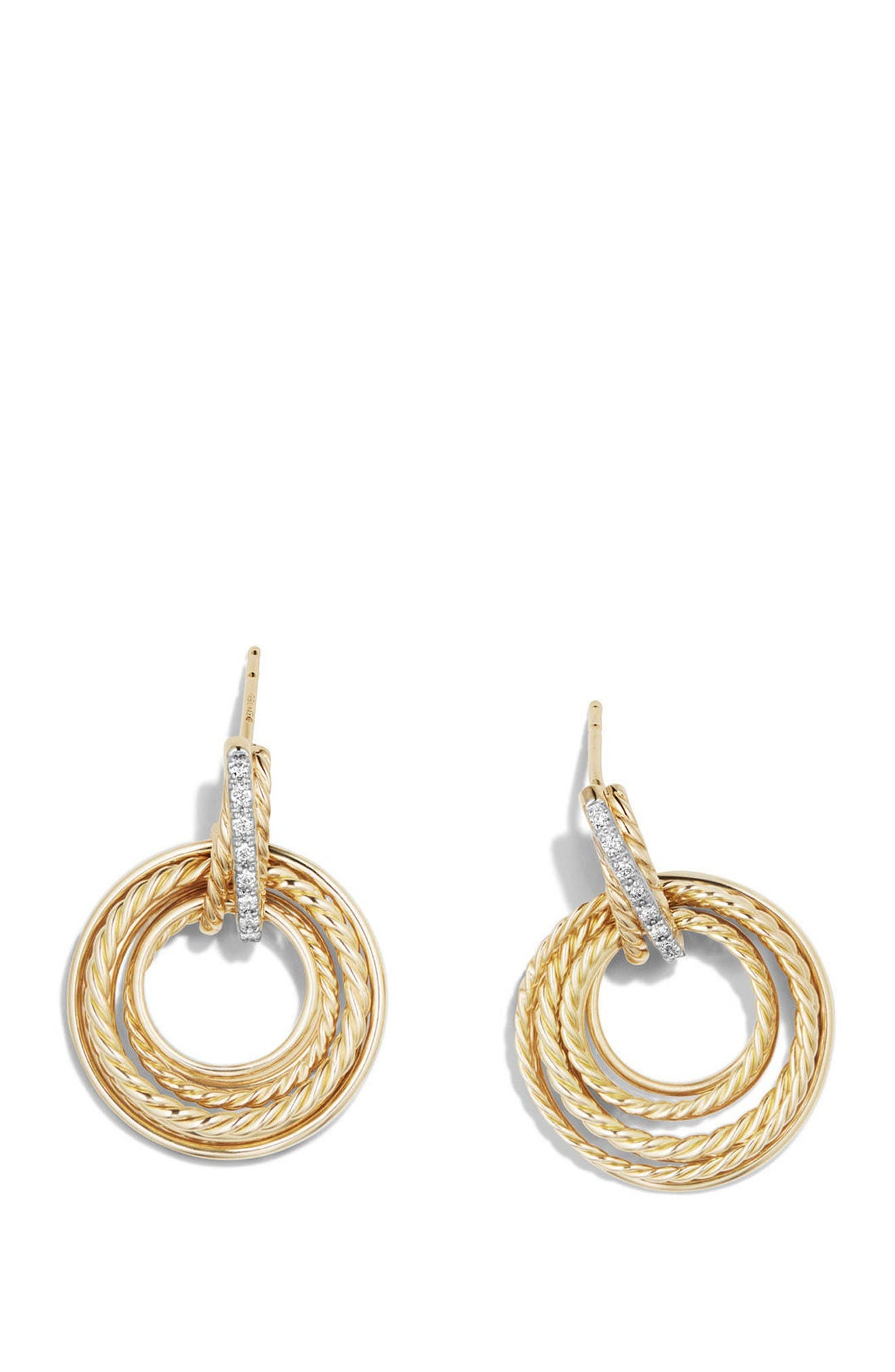 Crossover Diamond Drop Earrings,                             Alternate thumbnail 2, color,                             Yellow Gold/ Diamond