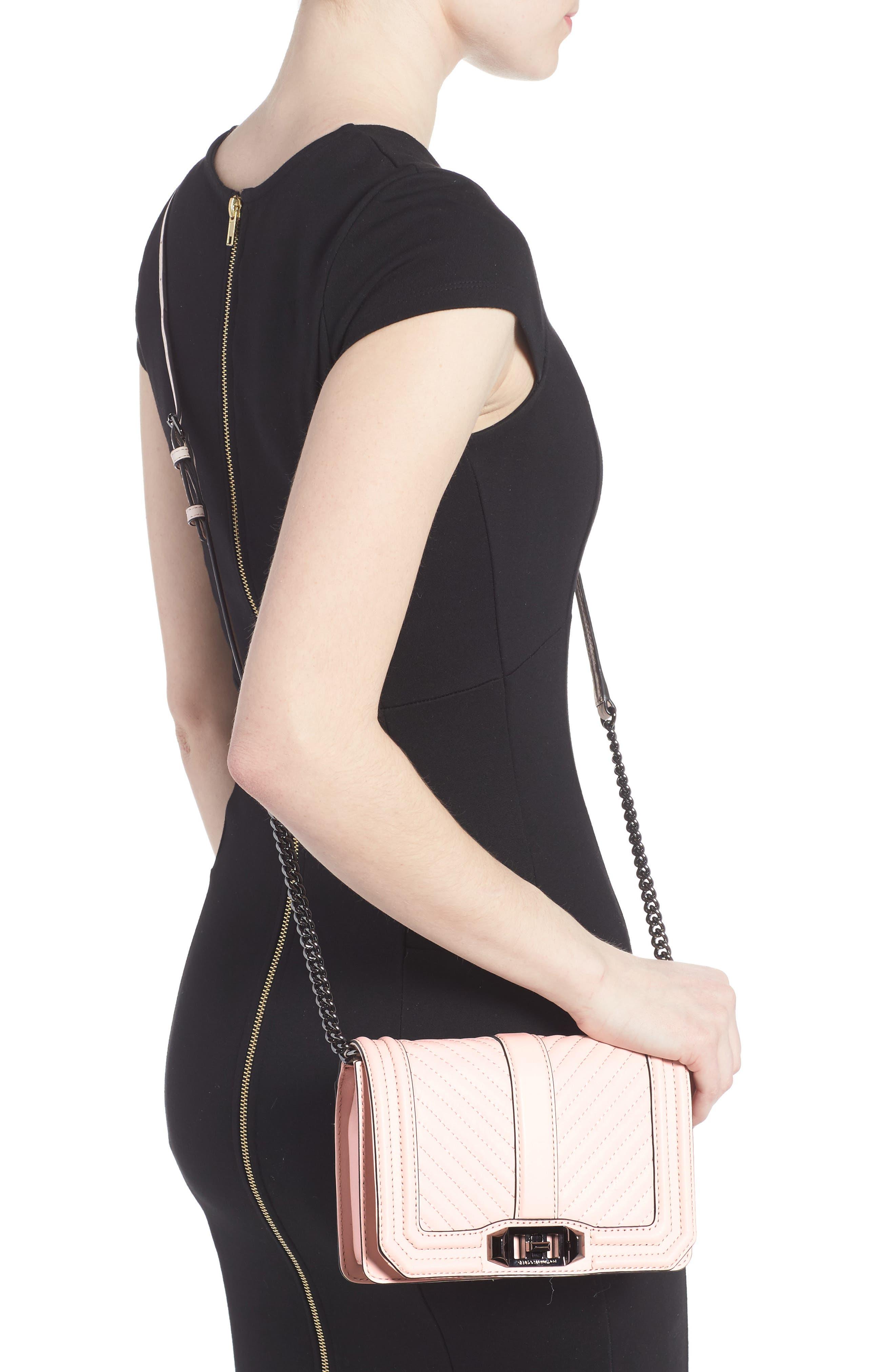 Small Love Leather Crossbody Bag,                             Alternate thumbnail 2, color,                             Soft Blush/ Gunmetal